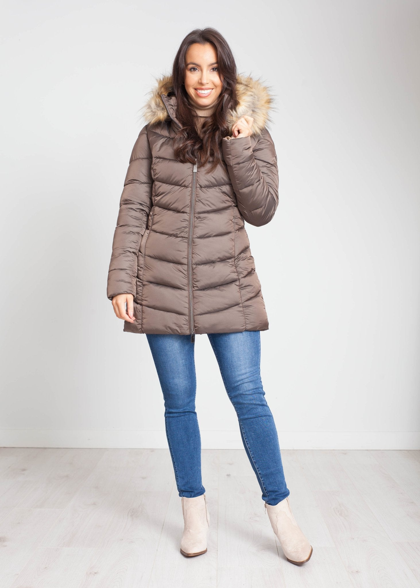 Heidi Hooded Puffa Coat In Bronze - The Walk in Wardrobe