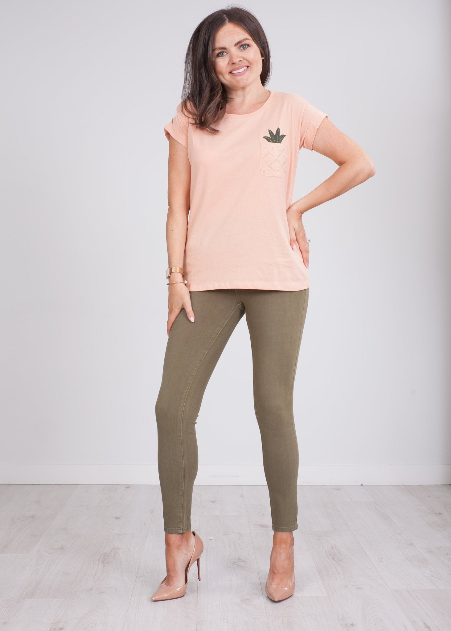 Heidi Peach T-Shirt - The Walk in Wardrobe