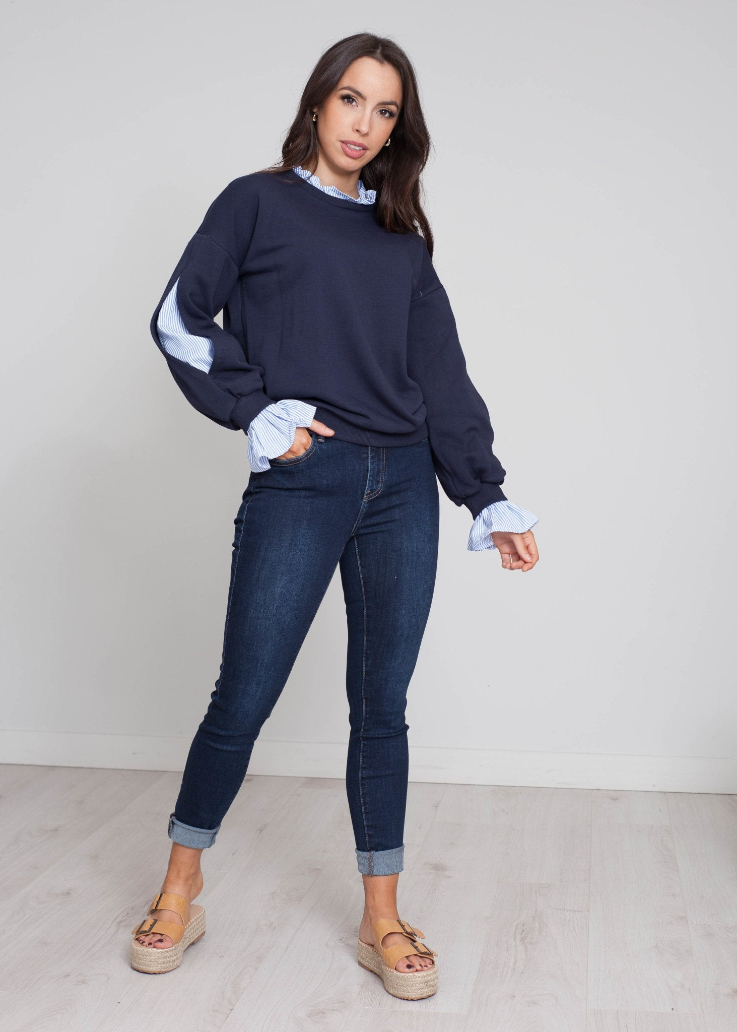 Heidi Pinstripe Sweatshirt In Navy - The Walk in Wardrobe