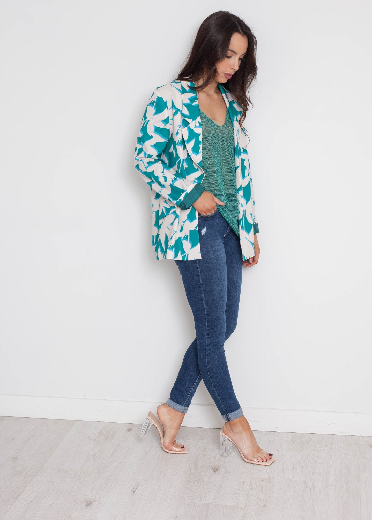 Heidi Printed Blazer In Teal Mix - The Walk in Wardrobe