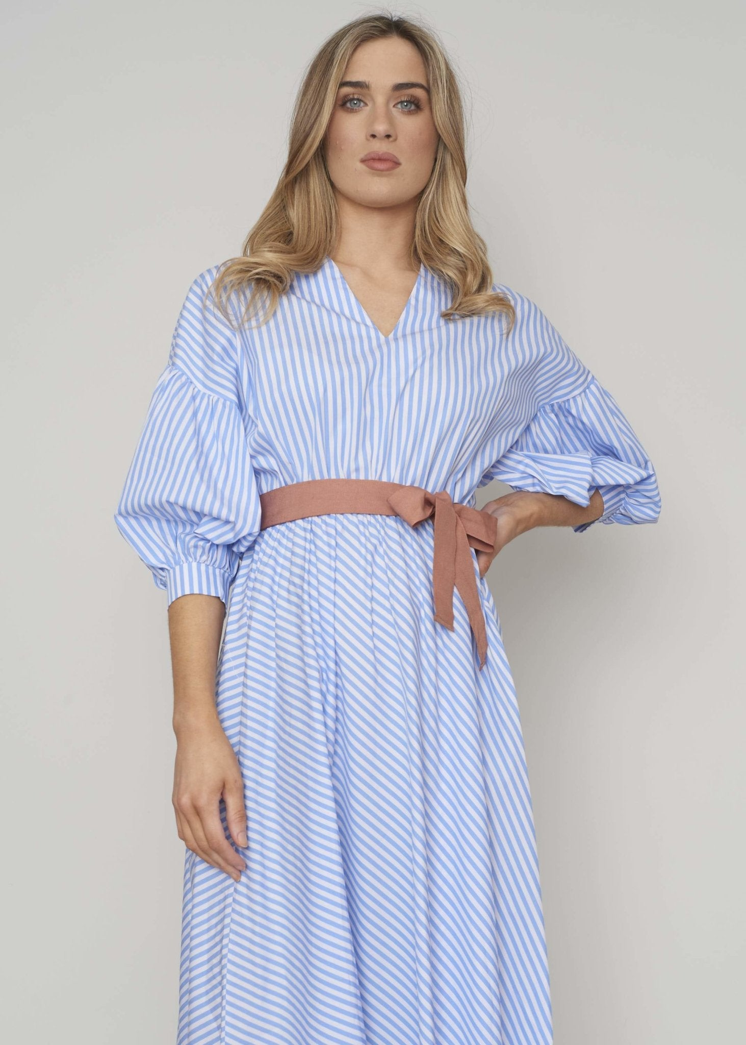 Heidi Puff Sleeve Dress In Blue Stripe - The Walk in Wardrobe