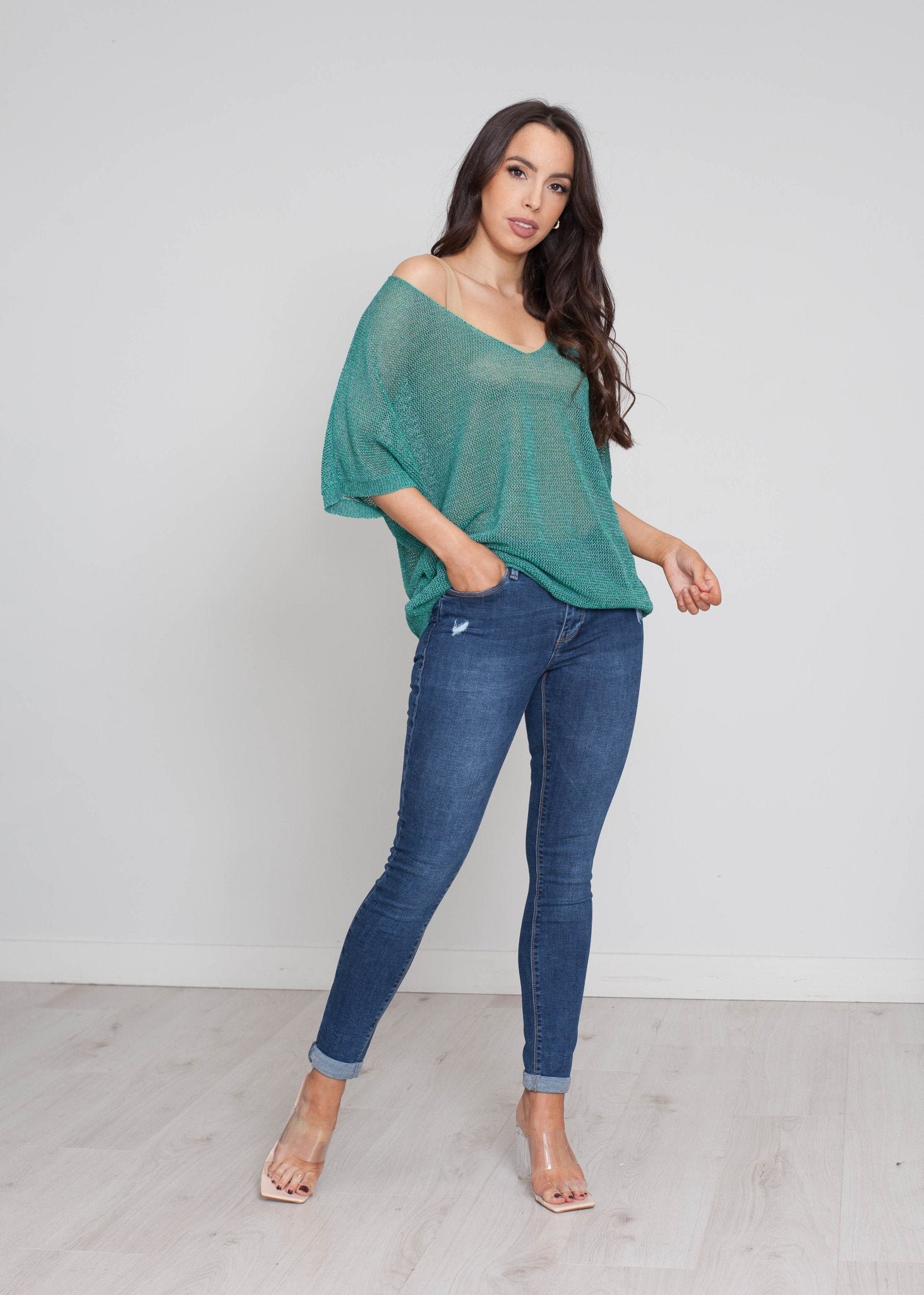 Heidi Shimmer Knit In Jade - The Walk in Wardrobe