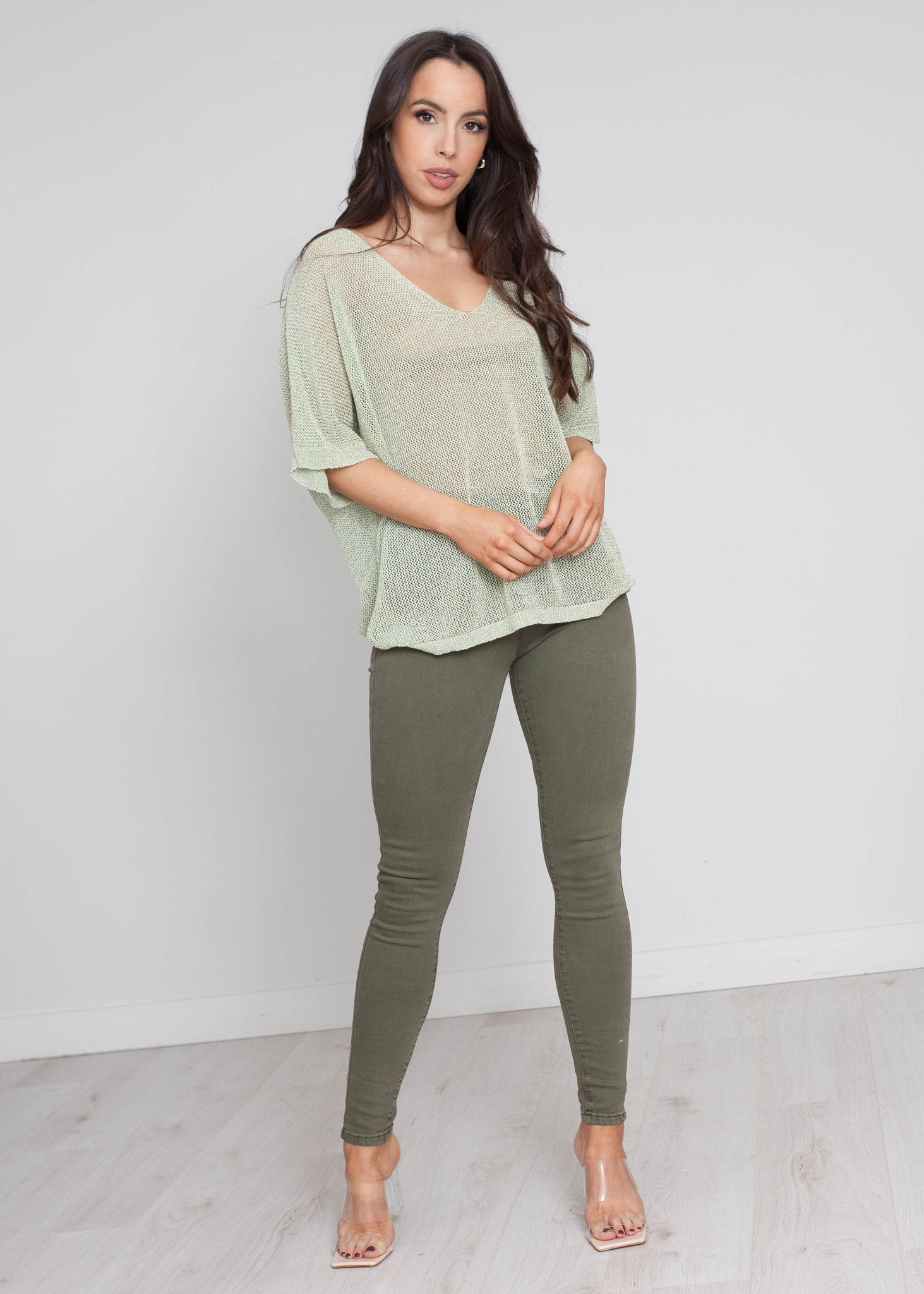 Heidi Shimmer Knit In Lime - The Walk in Wardrobe