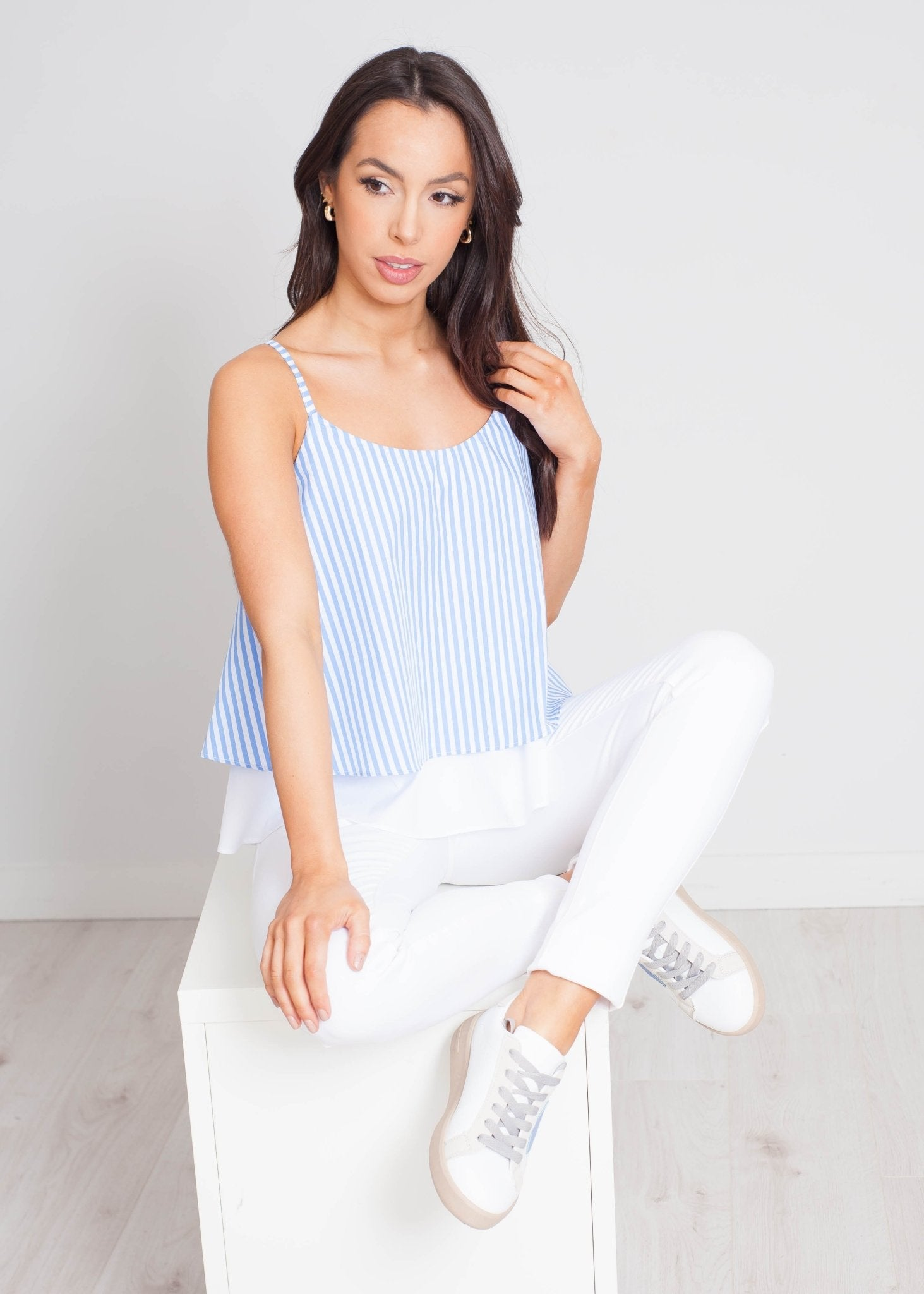 Heidi Stripe Cami In Blue - The Walk in Wardrobe