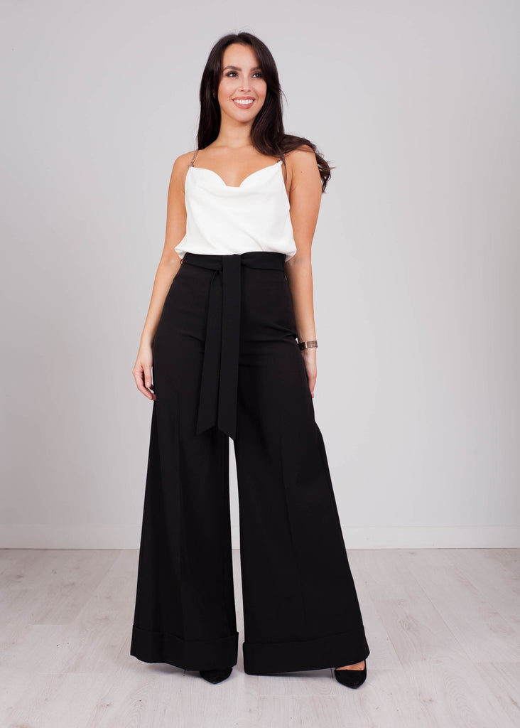 Heidi Wide Leg Trouser In Black - The Walk in Wardrobe