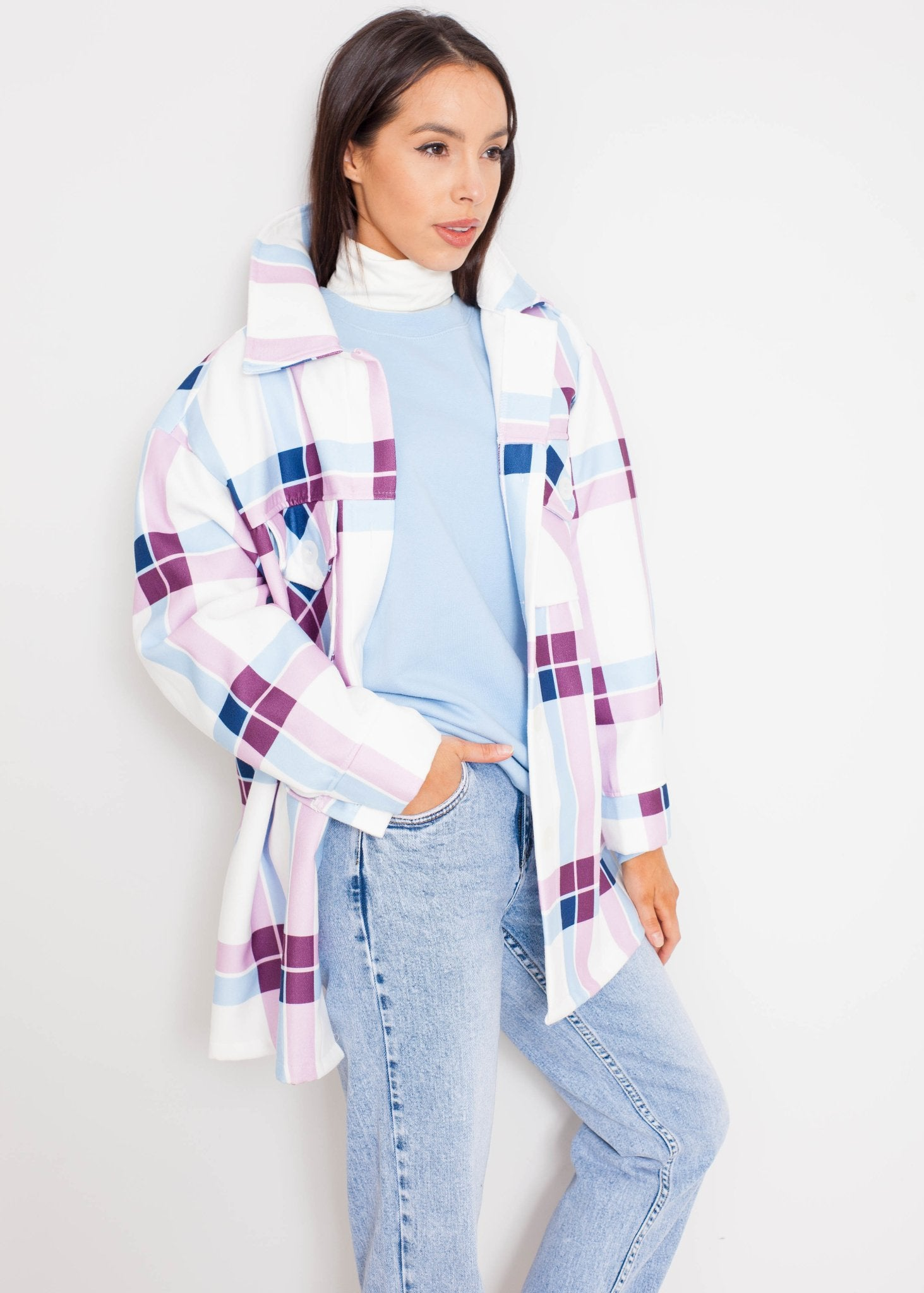 Indie Check Shacket In White & Pastel - The Walk in Wardrobe