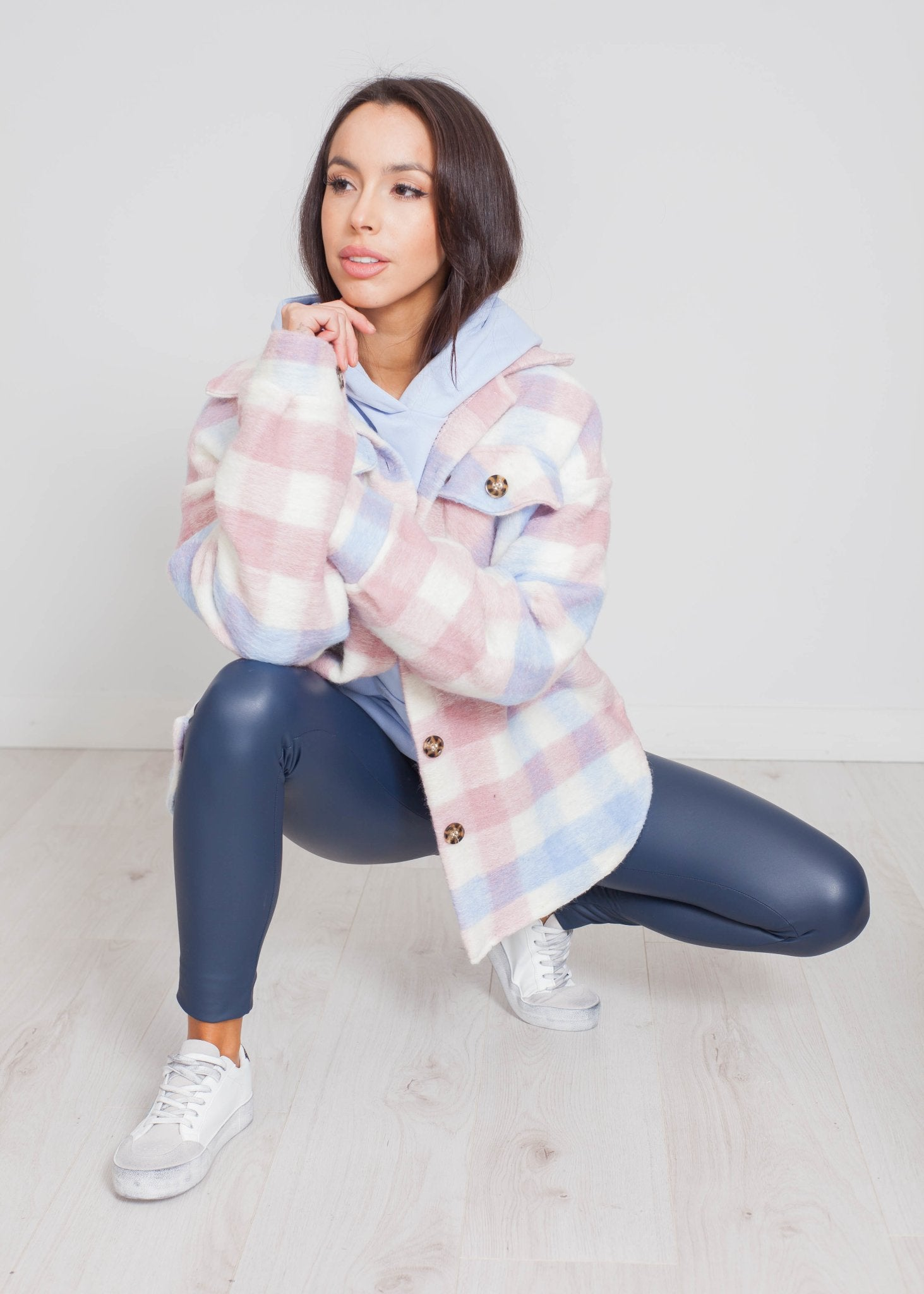 Indie Check Wool Shacket In Pink Mix - The Walk in Wardrobe