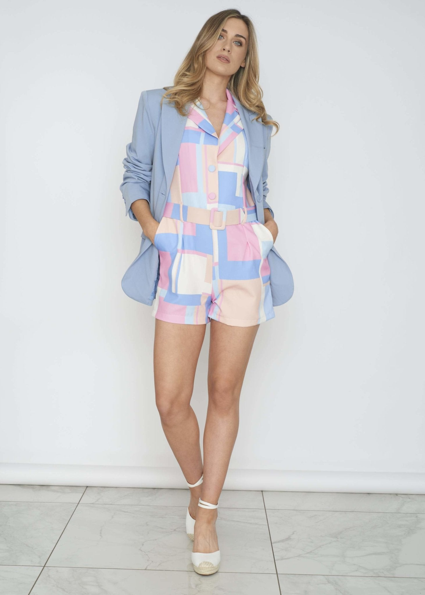 Indie Colour Block Playsuit In Blue Mix - The Walk in Wardrobe