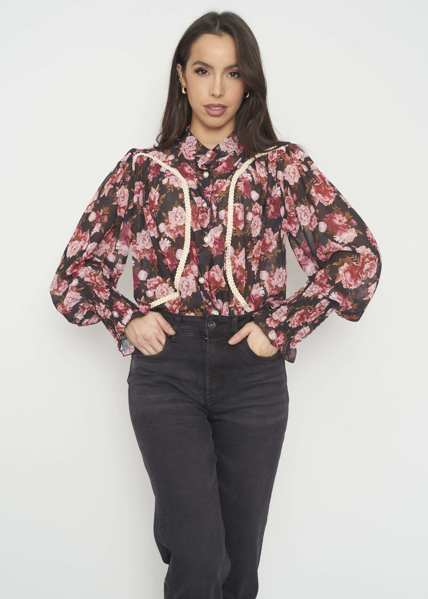 Indie Floral Blouse In Red Mix - The Walk in Wardrobe