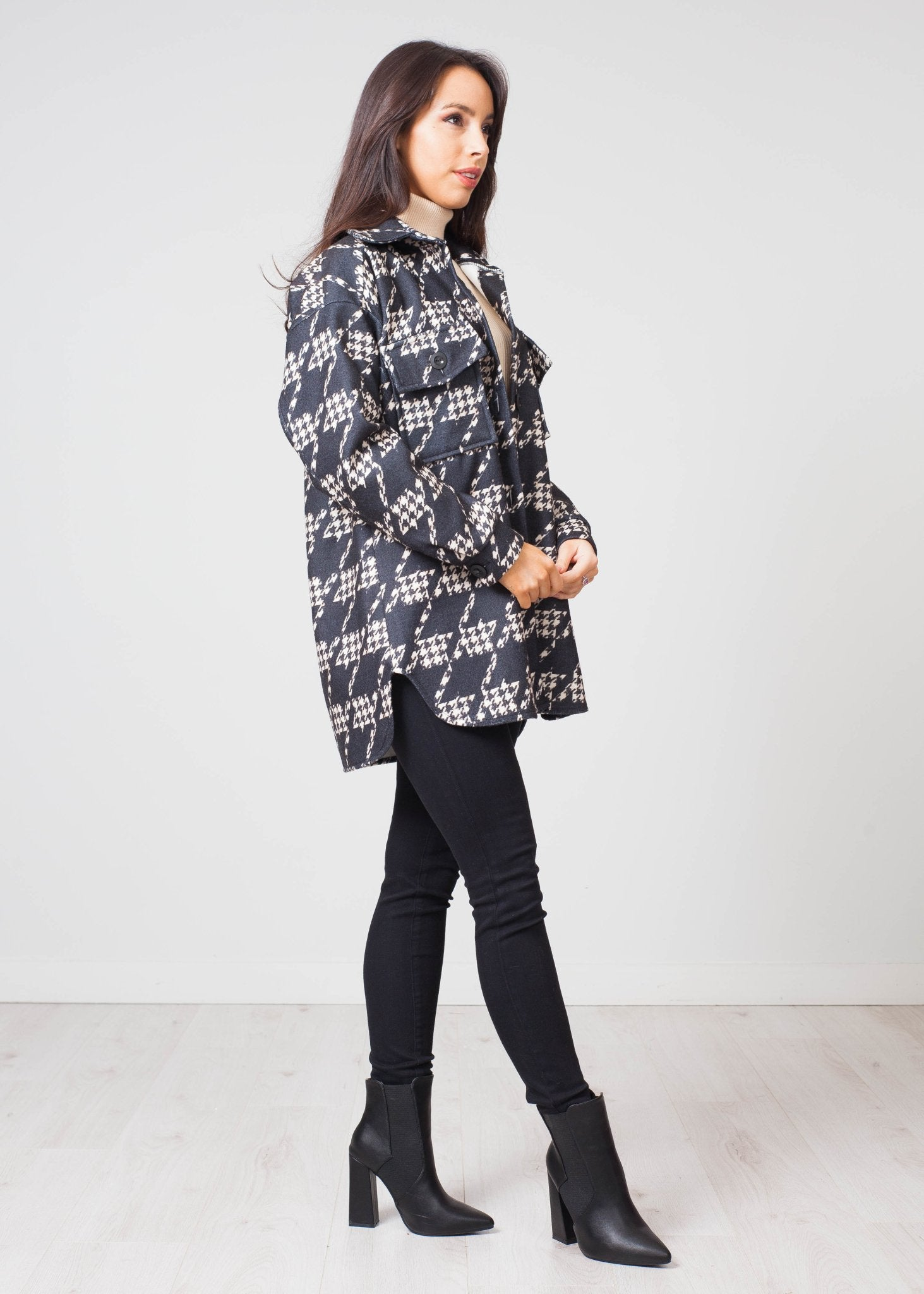 Indie Houndstooth Shacket In Black - The Walk in Wardrobe