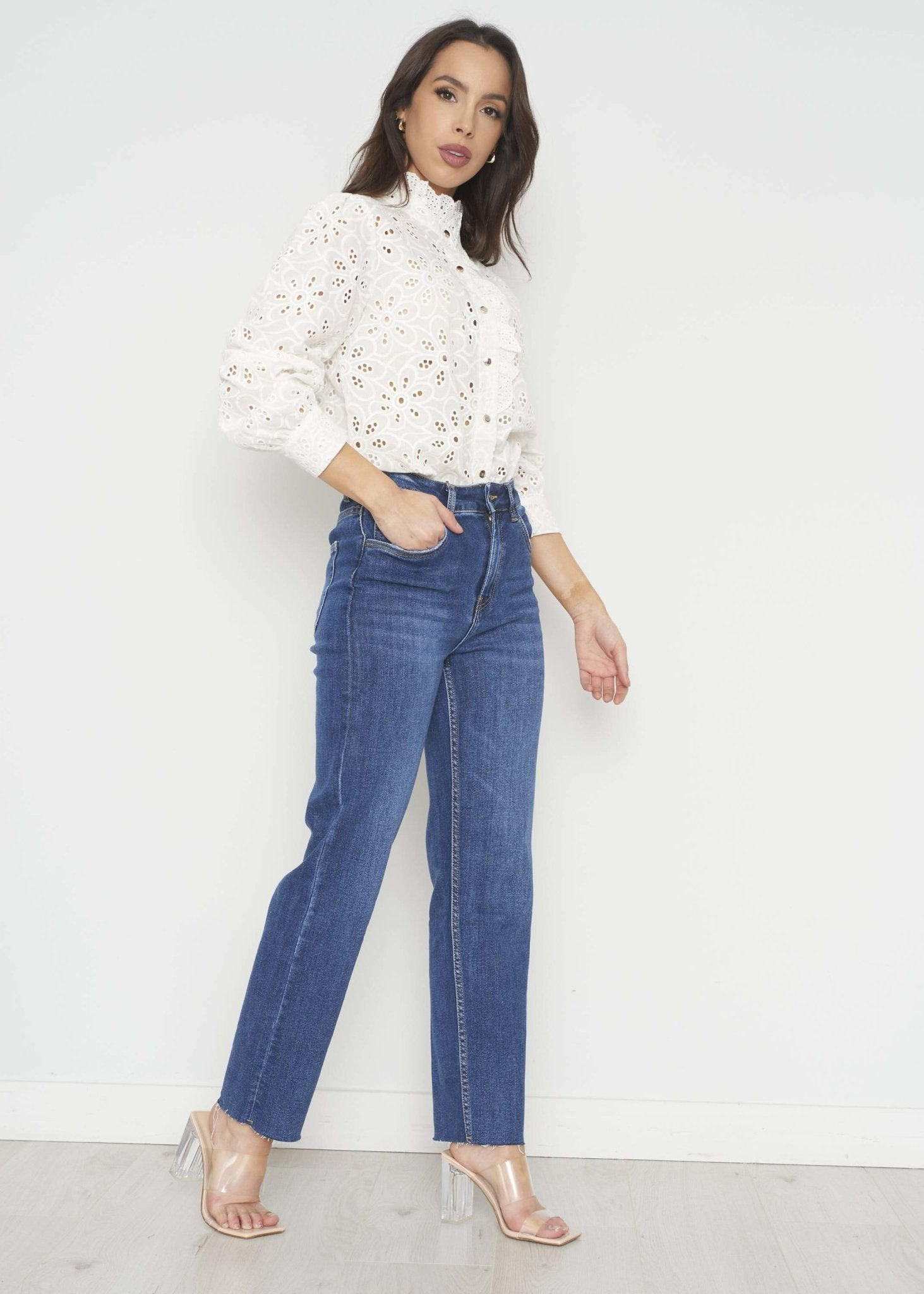 Indie Lace Blouse In White - The Walk in Wardrobe