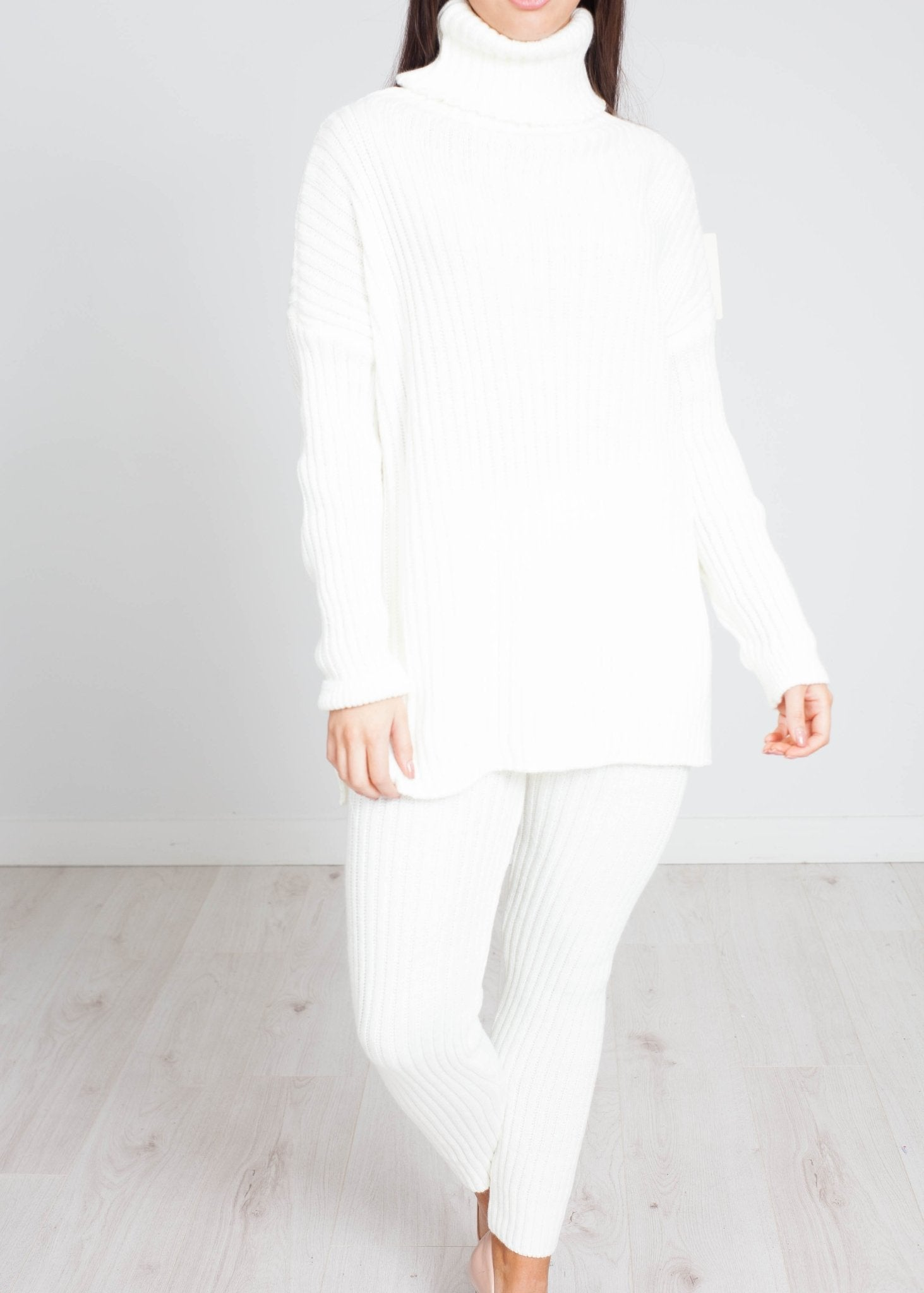 Indie Polo Knit Lounge Set In Winter White - The Walk in Wardrobe