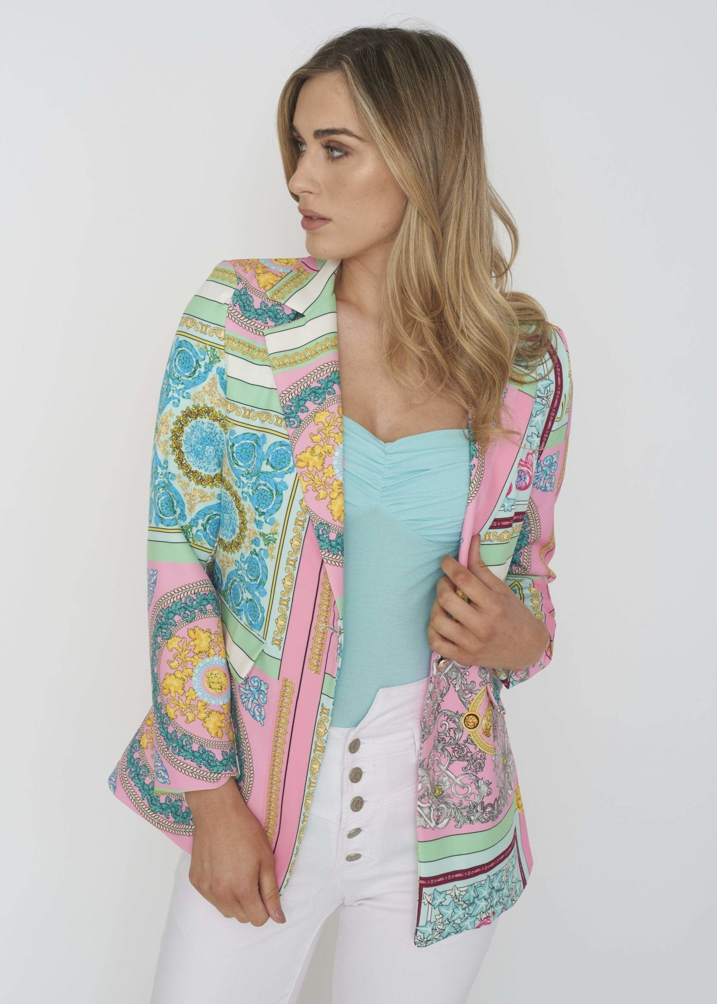 Indie Printed Blazer In Green Mix - The Walk in Wardrobe