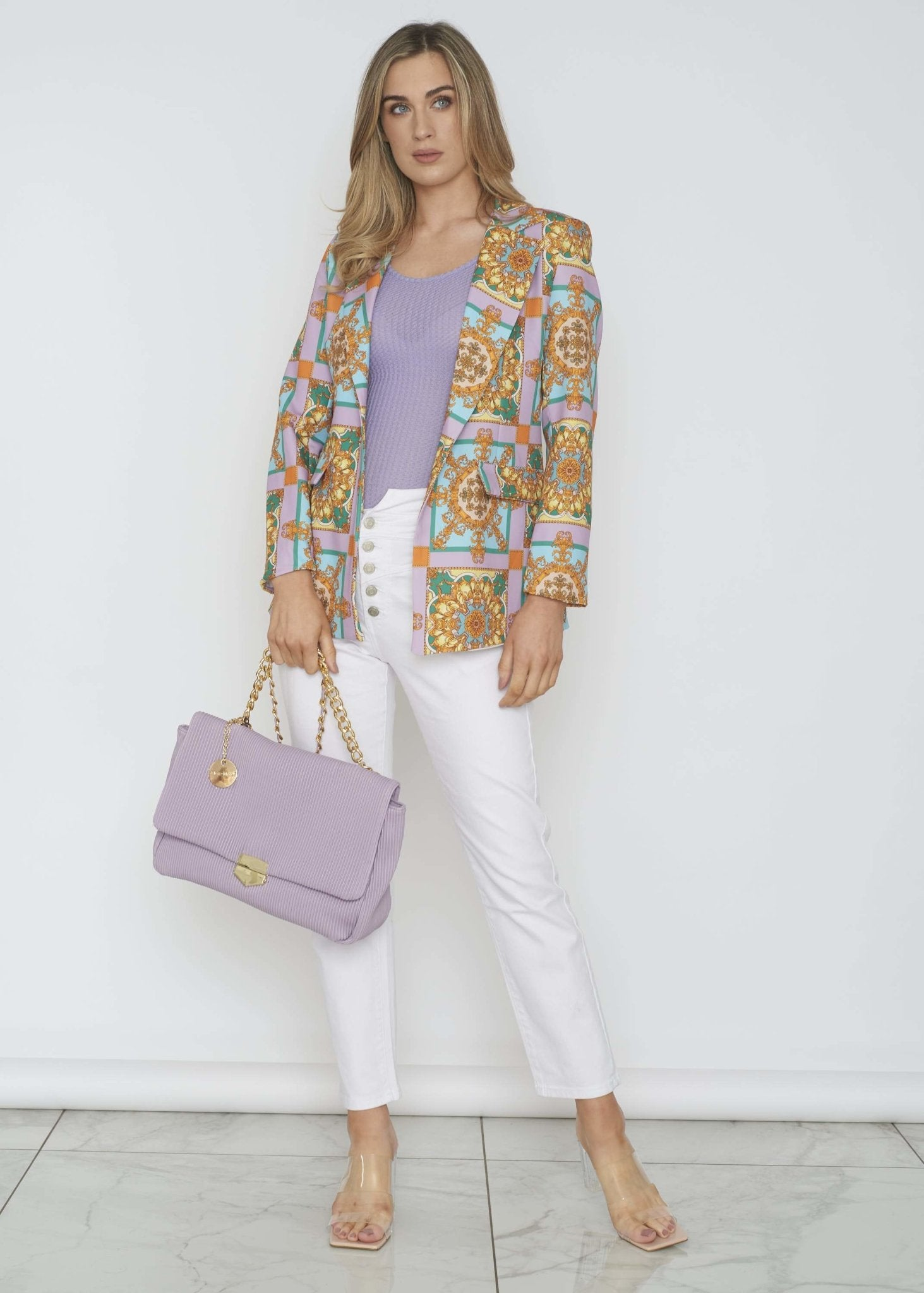 Indie Printed Blazer In Lavender Mix - The Walk in Wardrobe