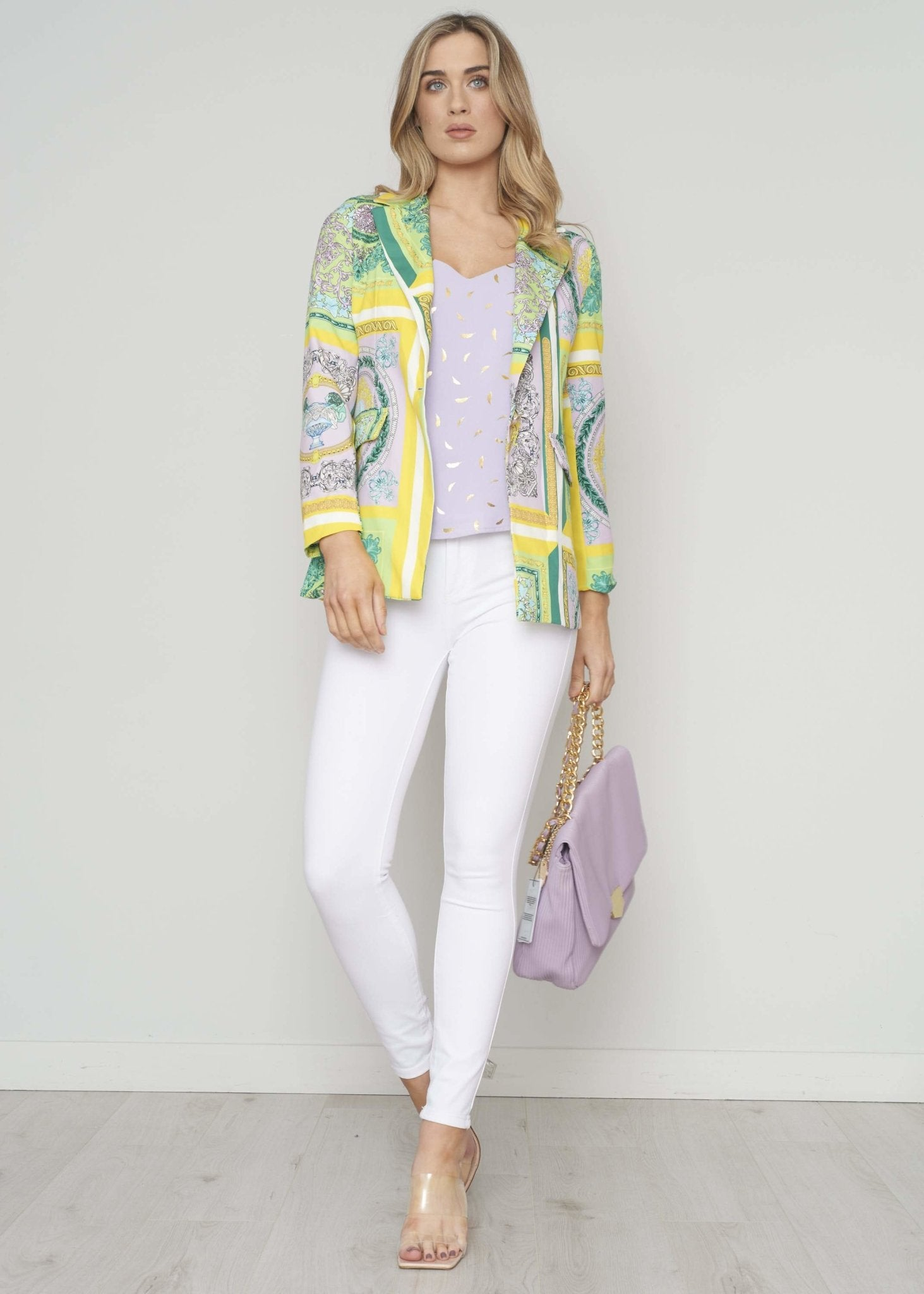 Indie Printed Blazer In Lilac Mix - The Walk in Wardrobe