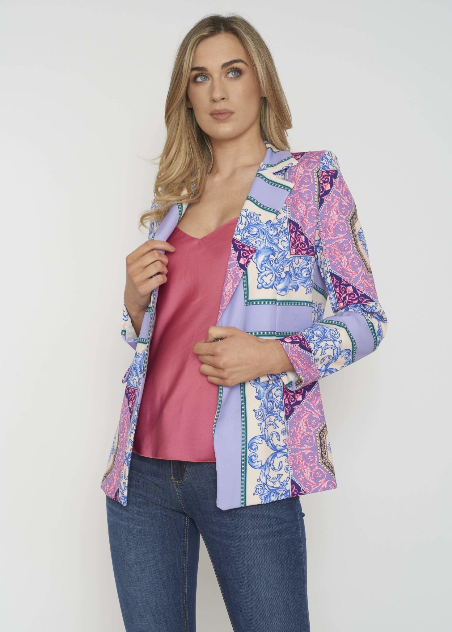 Indie Printed Blazer In Purple Mix - The Walk in Wardrobe