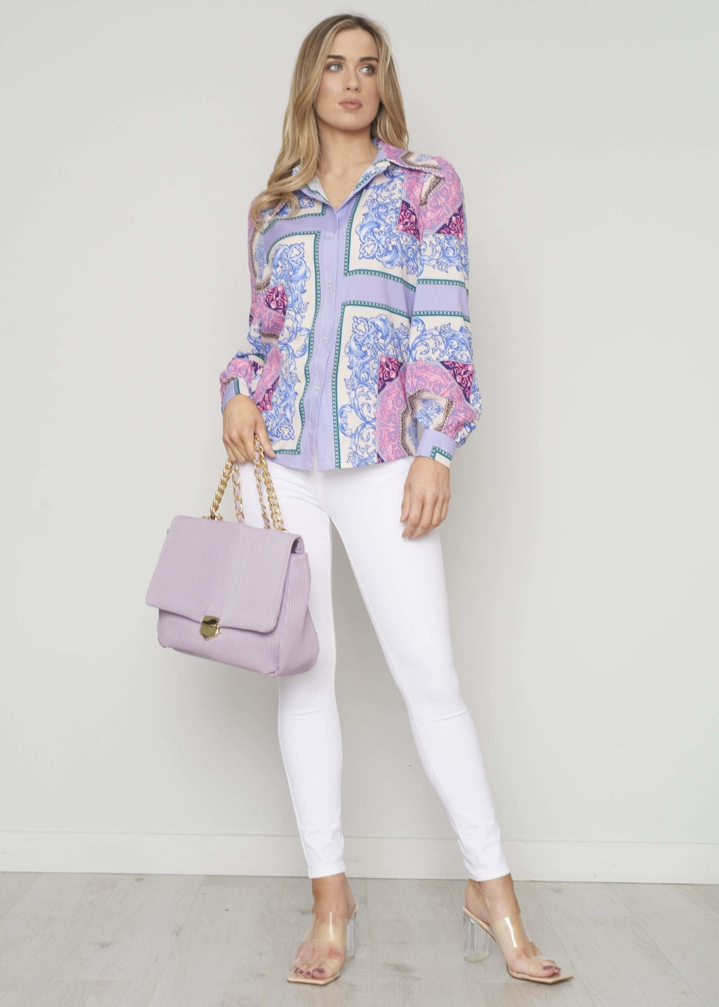 Indie Printed Shirt In Lilac Mix - The Walk in Wardrobe