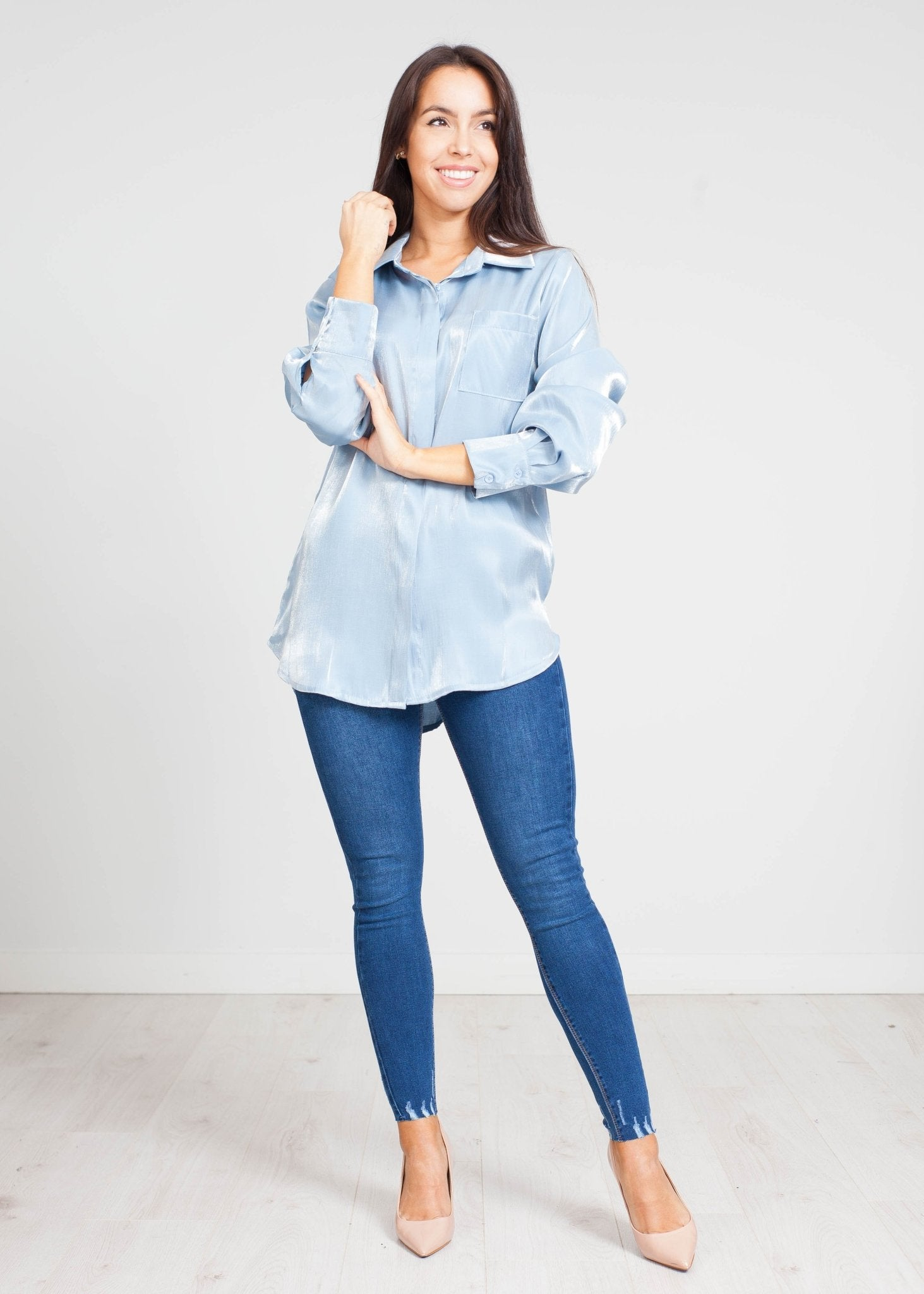 Indie Satin Shirt In Powder Blue - The Walk in Wardrobe