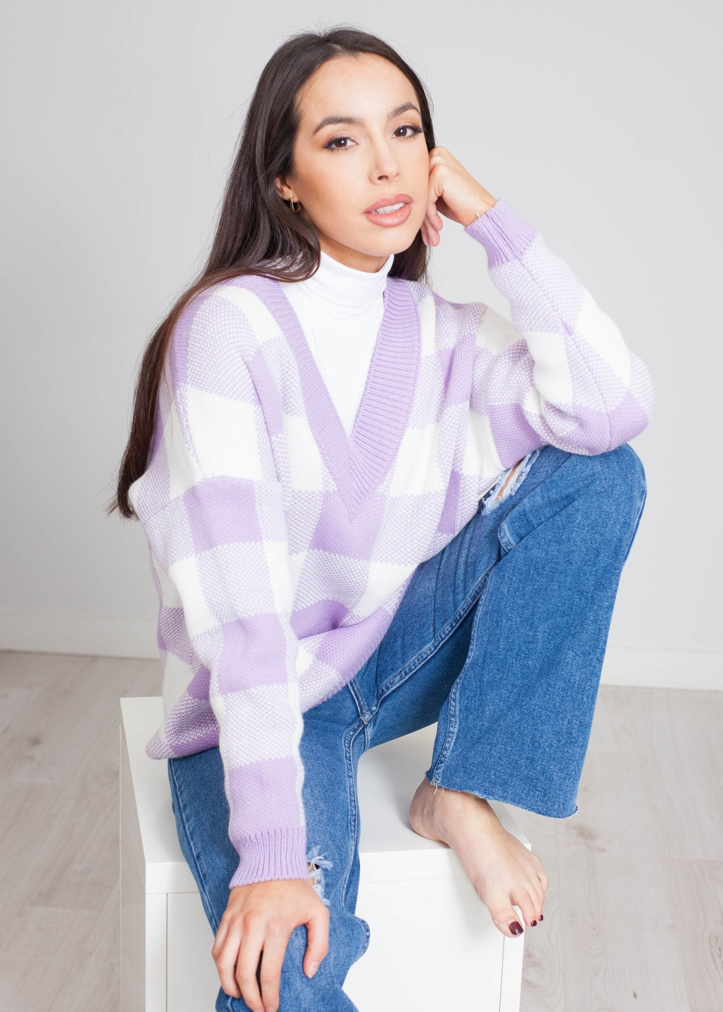 Indie V-Neck Jumper In Lilac Check - The Walk in Wardrobe
