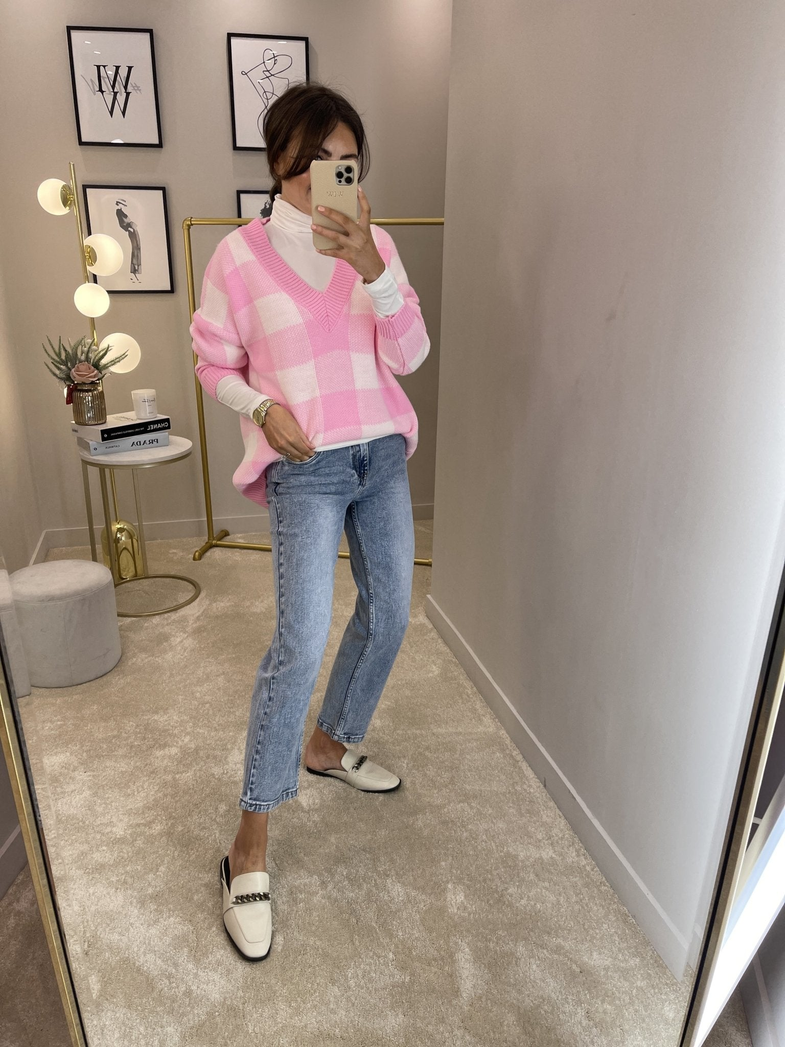 Indie V-Neck Jumper In Pink Check - The Walk in Wardrobe