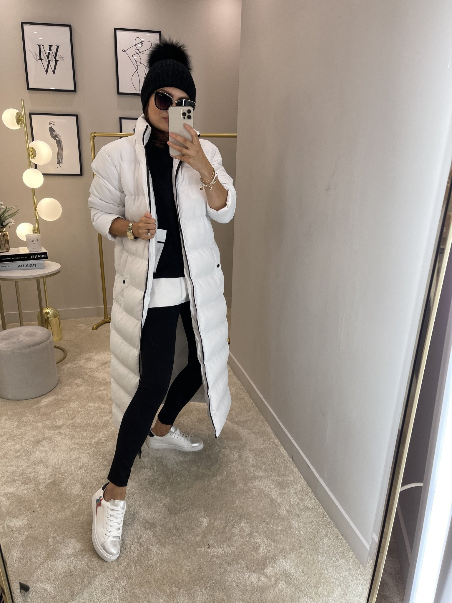 Jade Longline Puffa Coat In White - The Walk in Wardrobe