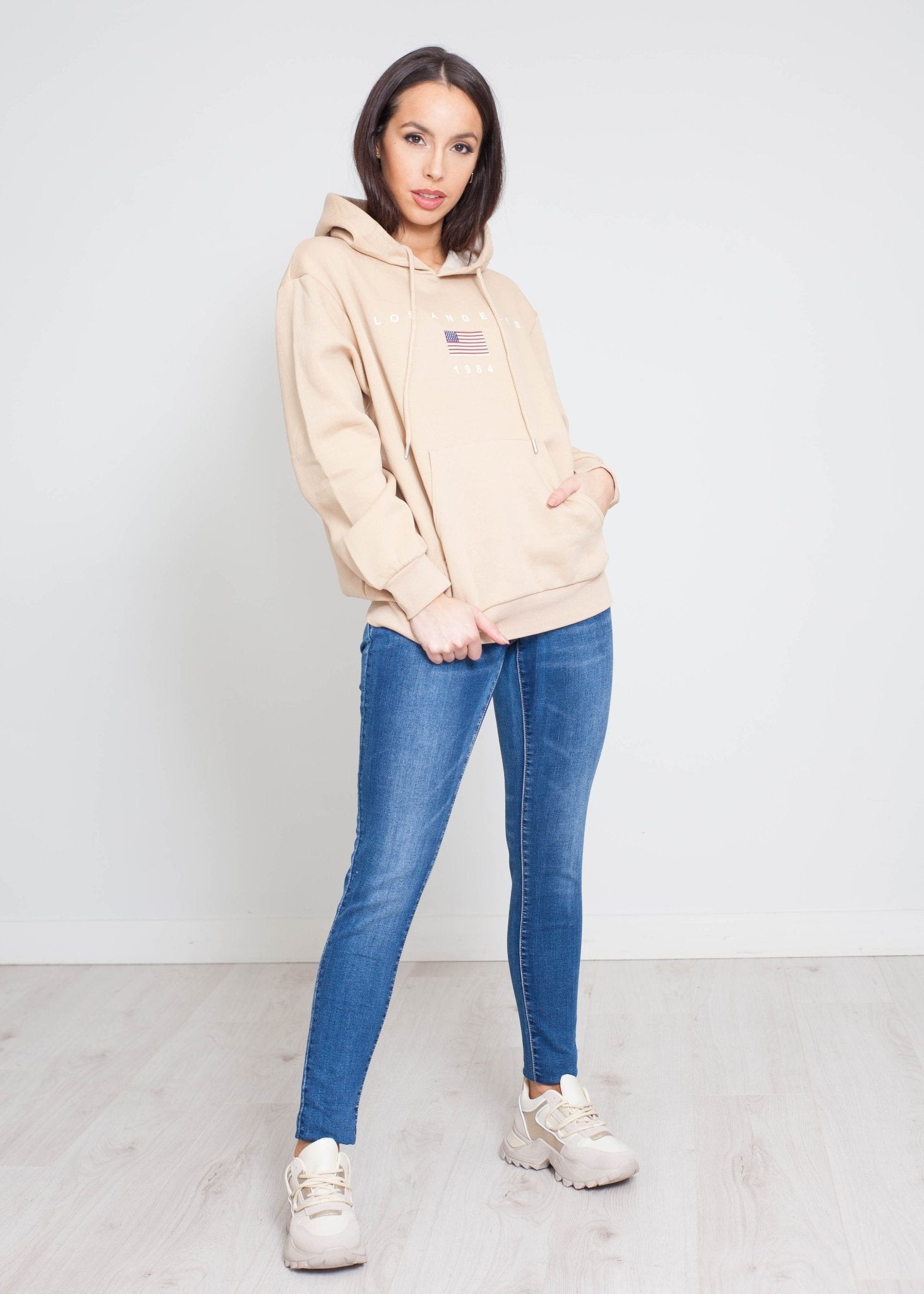 Jade Printed Hoodie In Beige - The Walk in Wardrobe
