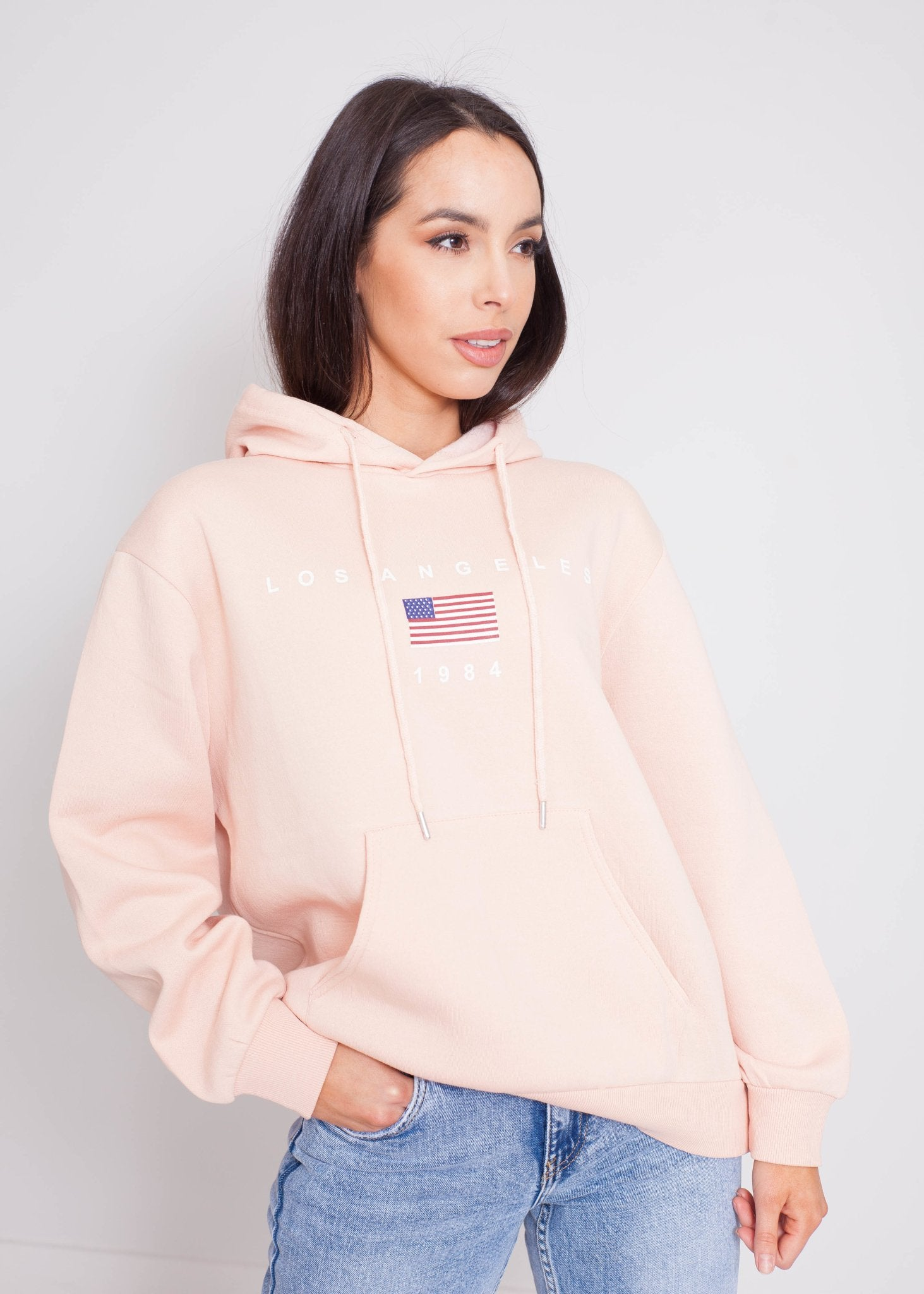 Jade Printed Hoodie In Blush - The Walk in Wardrobe