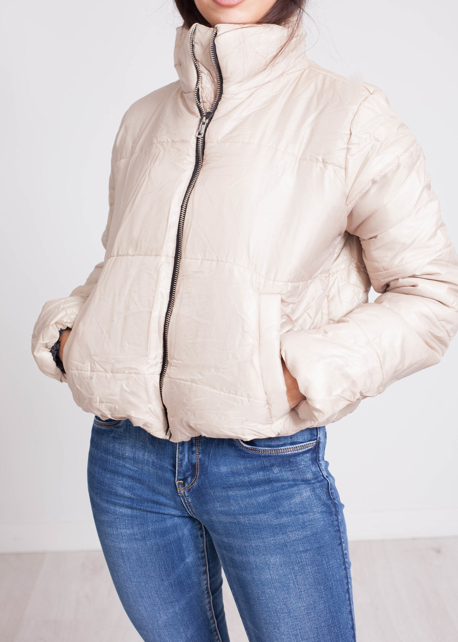 Jade Puffa Jacket In Stone - The Walk in Wardrobe