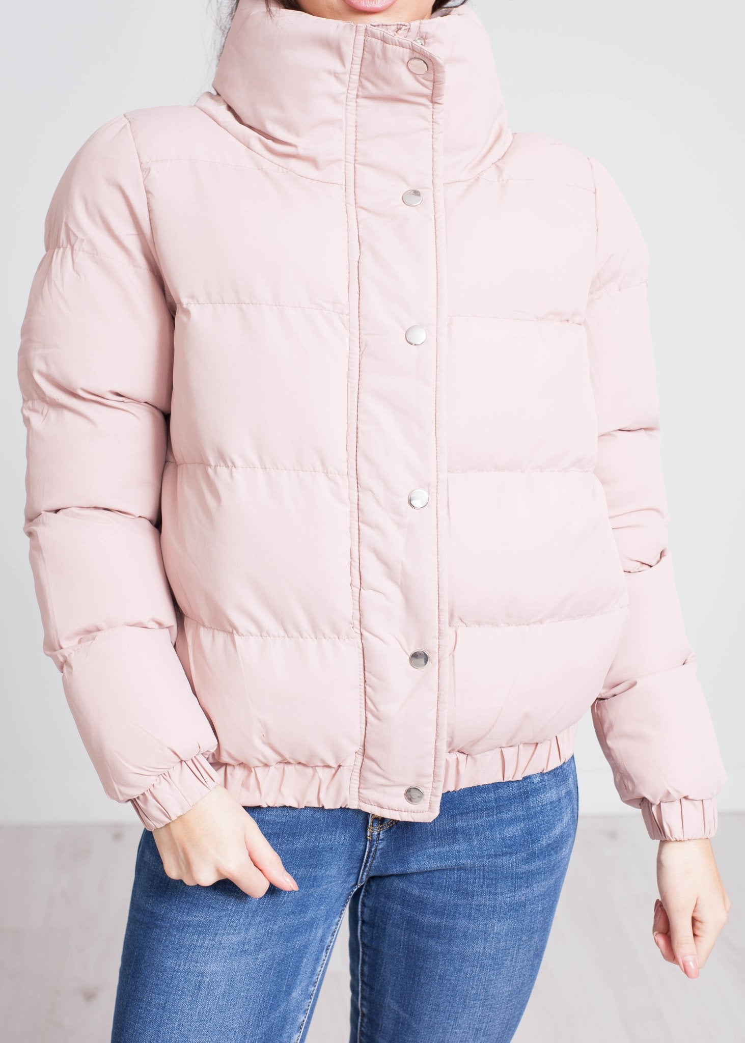 Jade Short Puffa Coat In Blush - The Walk in Wardrobe