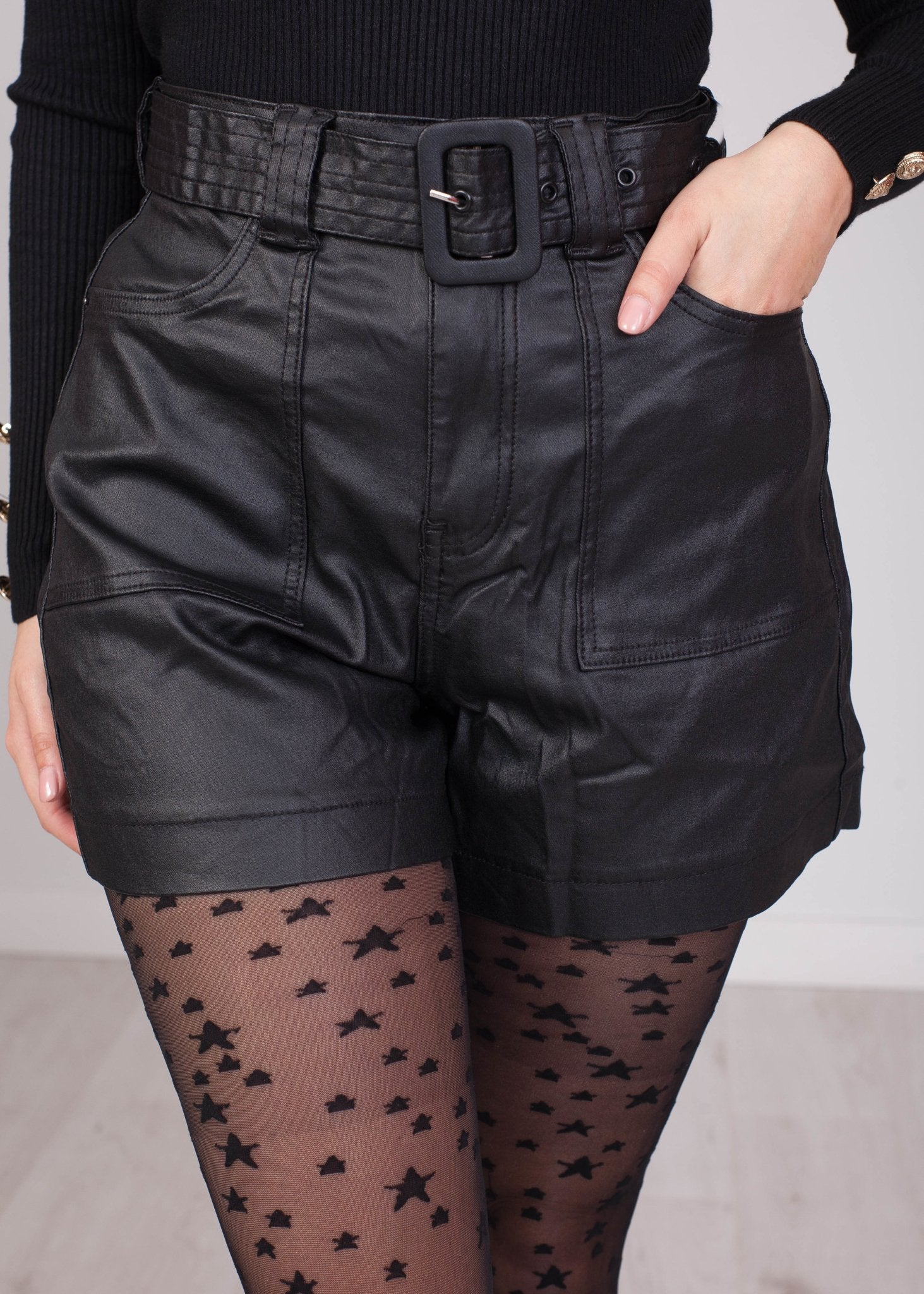 Jane Black Leather Shorts - The Walk in Wardrobe