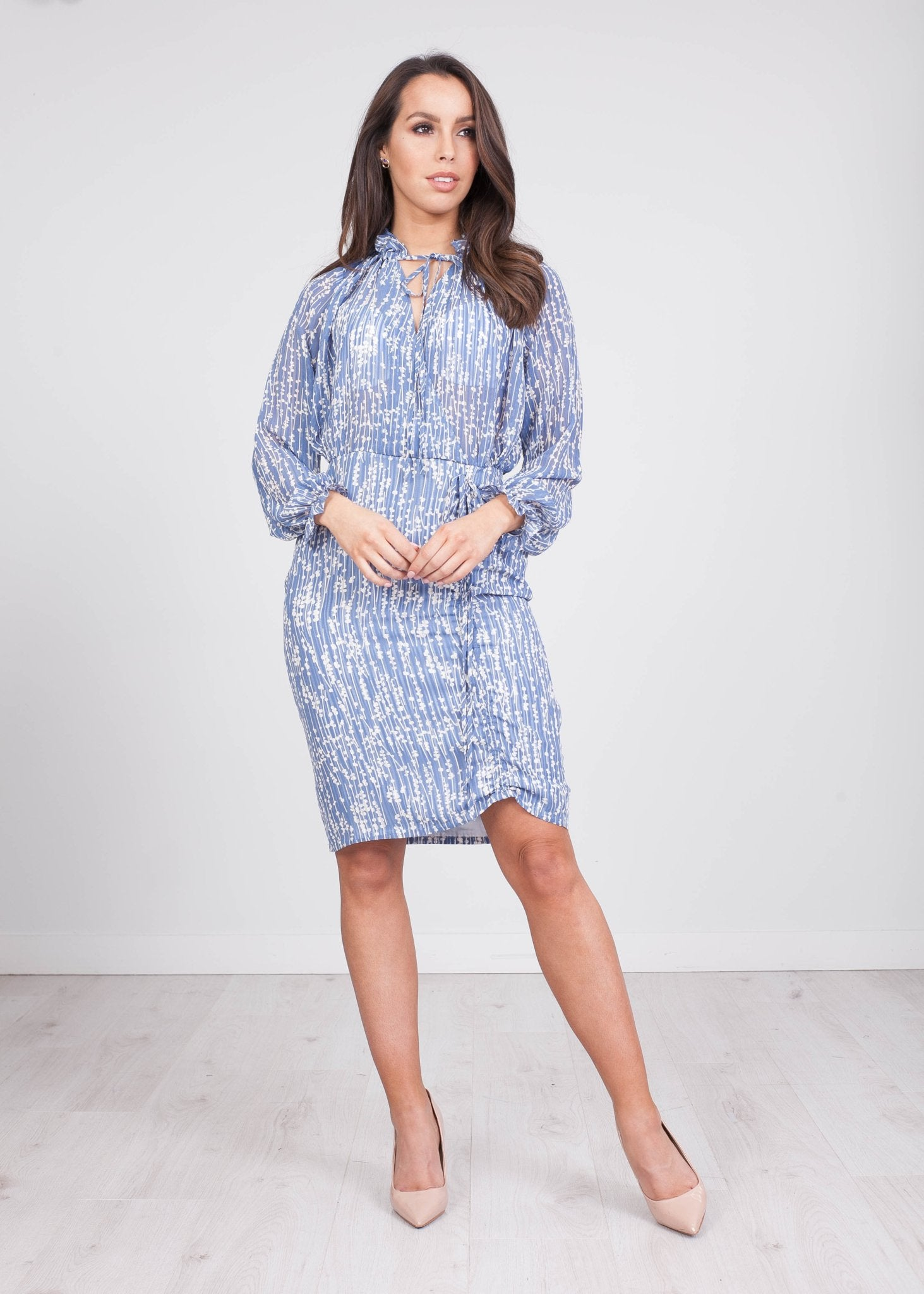 Jasmine Blue Printed Dress - The Walk in Wardrobe