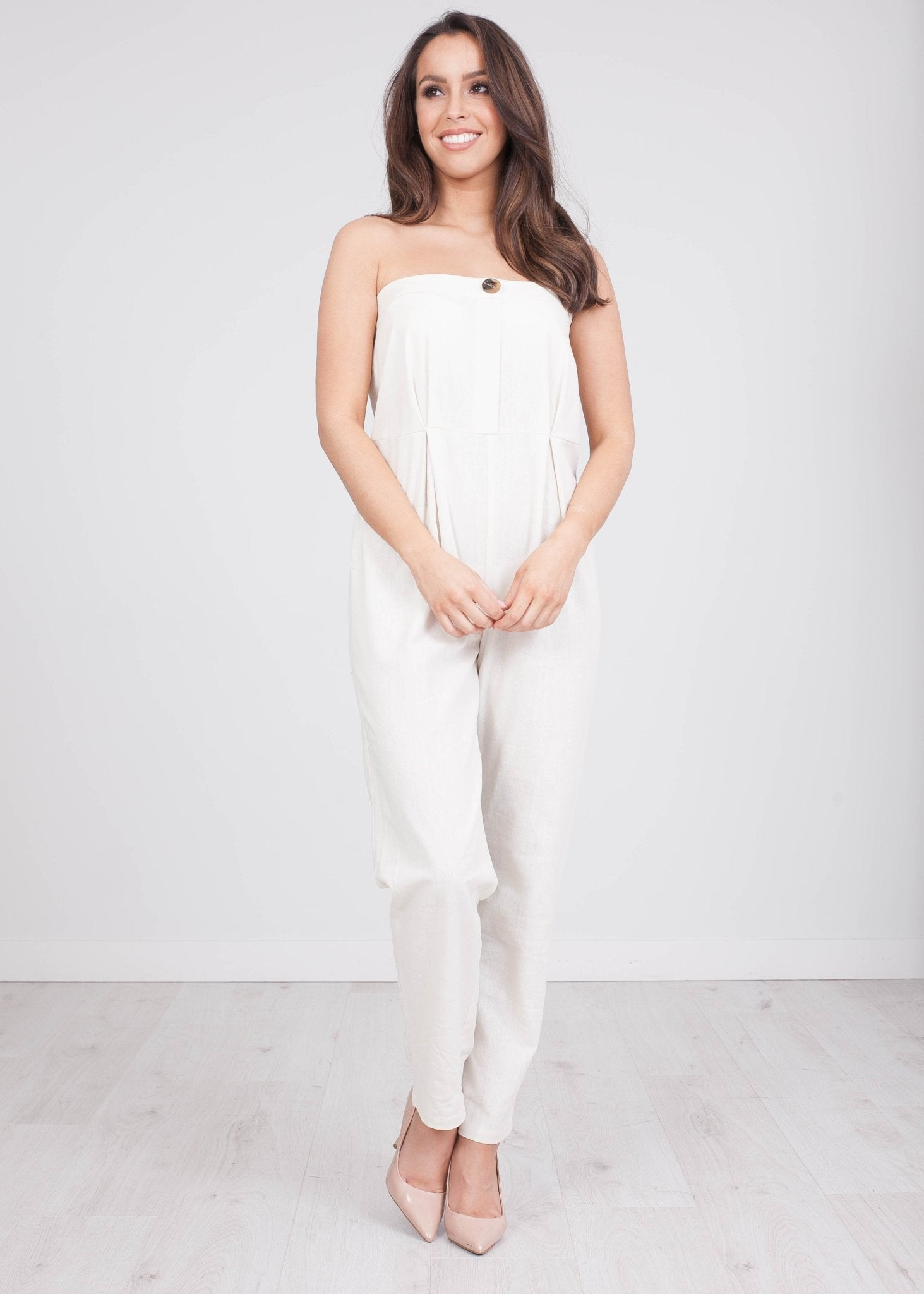 Jasmine Cream Linen Jumpsuit - The Walk in Wardrobe