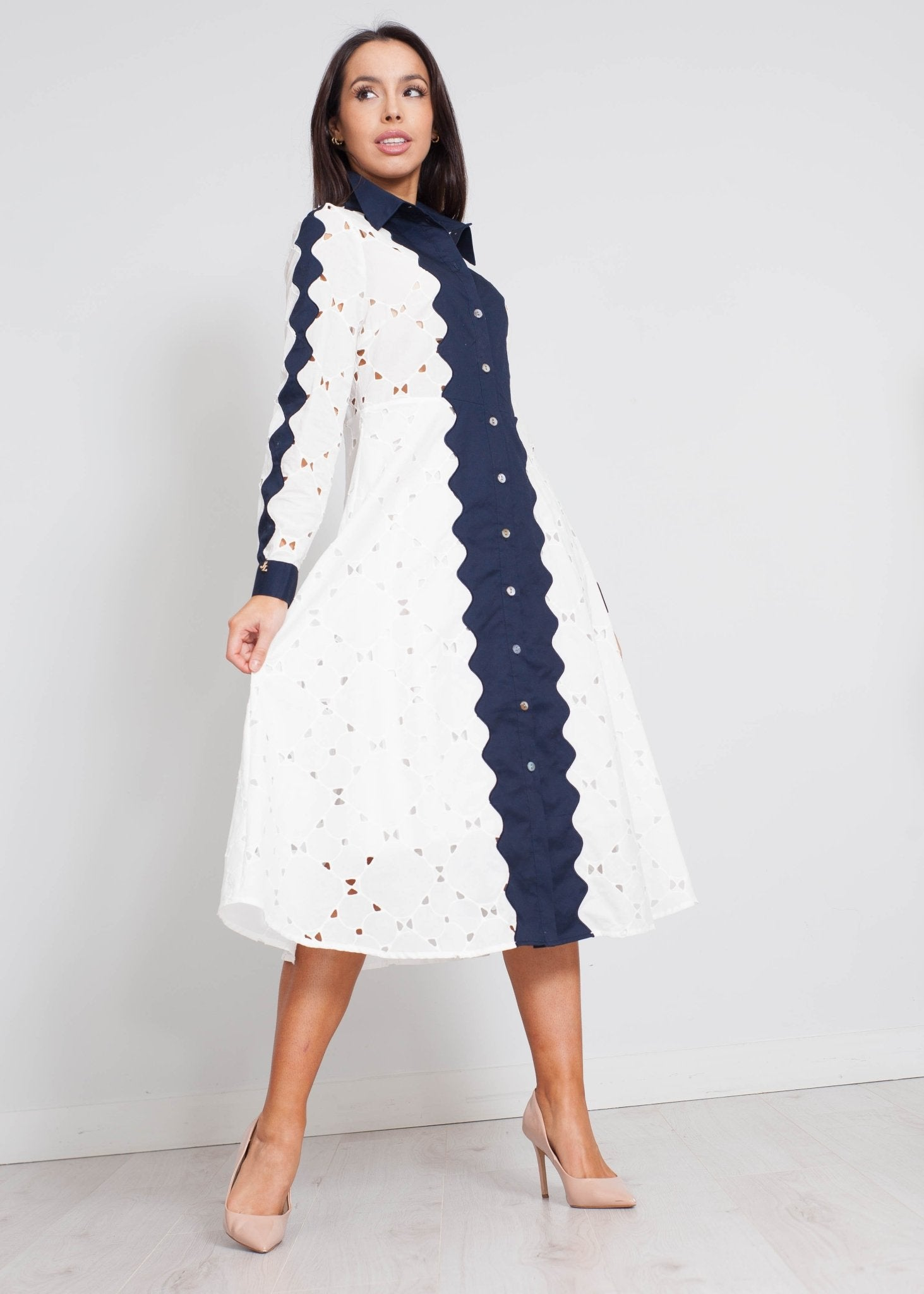 Jasmine Embroidered Dress In Navy Mix - The Walk in Wardrobe
