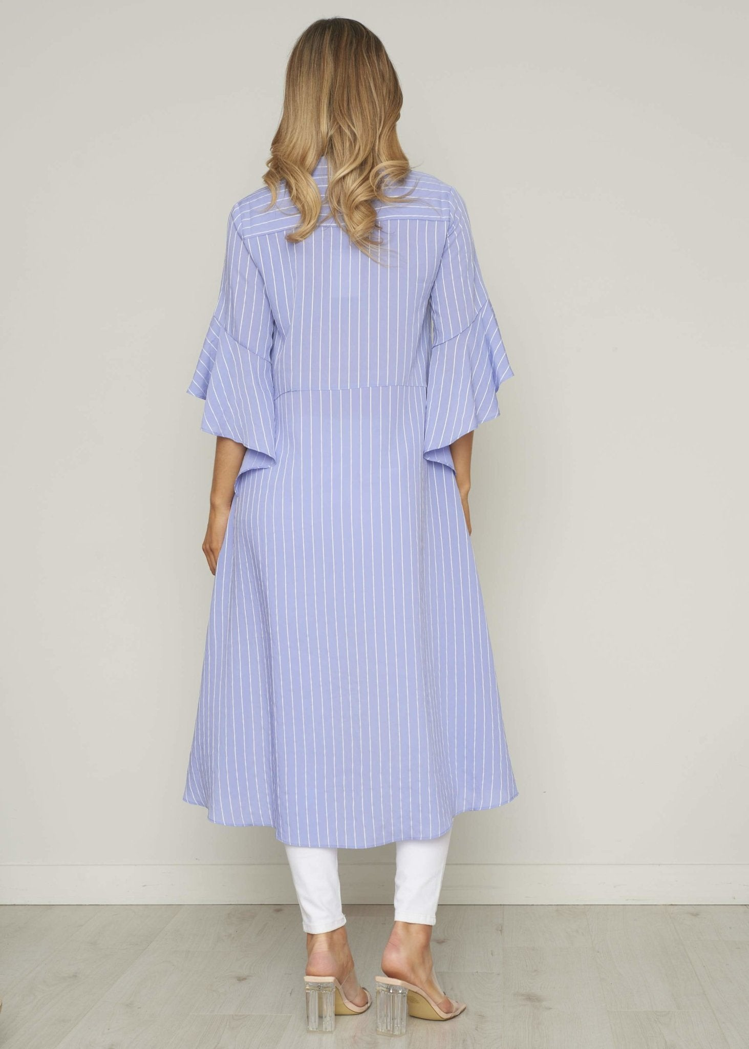 Jasmine High Low Shirt Dress In Blue Pinstripe - The Walk in Wardrobe