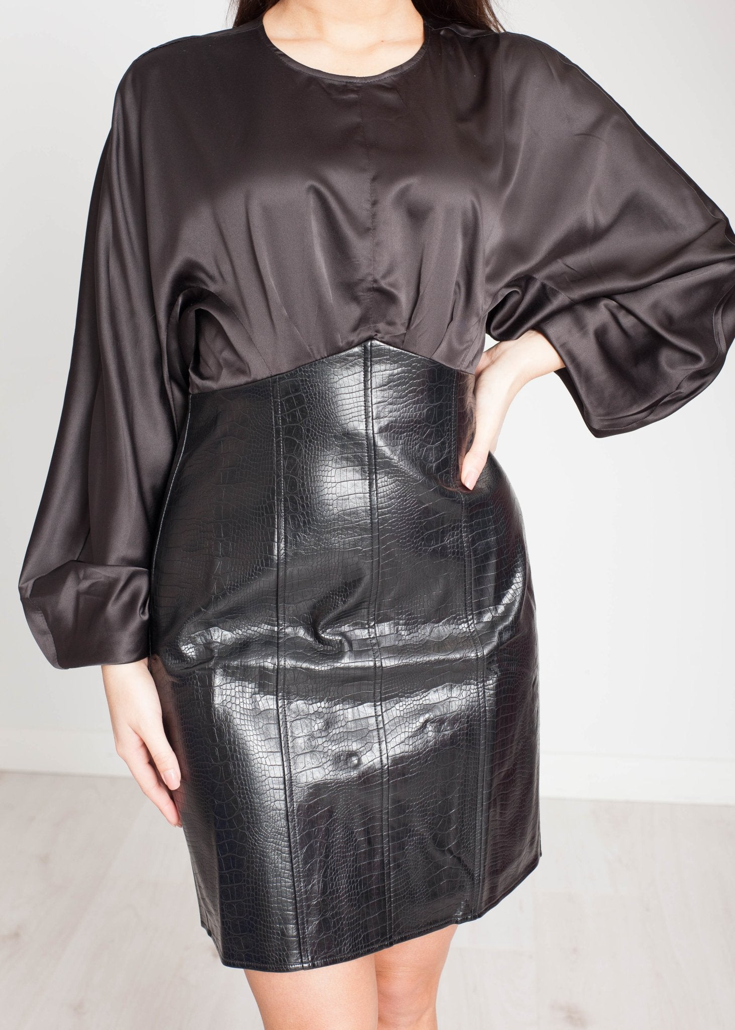 Jasmine Leather & Satin Dress In Black - The Walk in Wardrobe