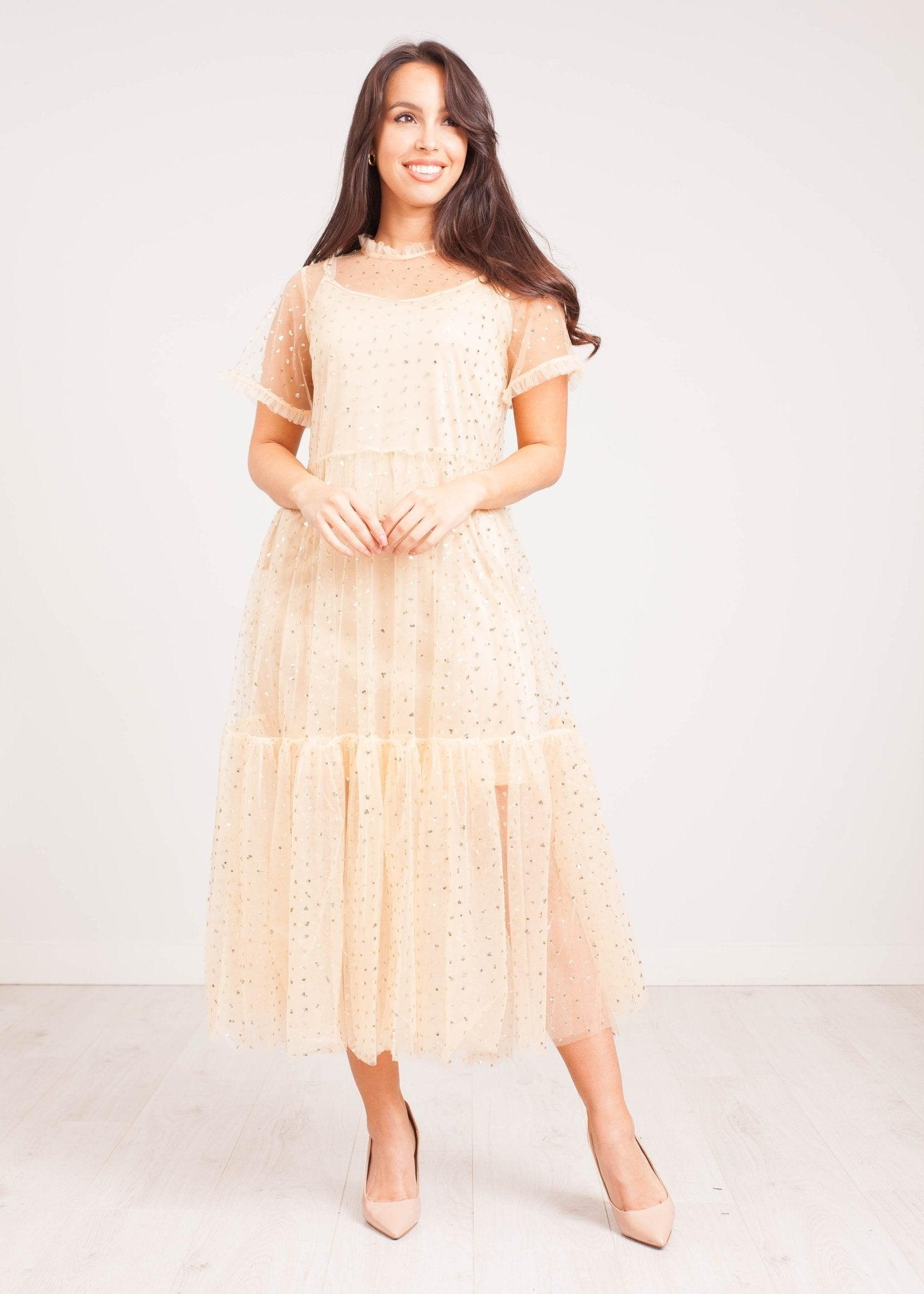 Jasmine Midi Dress in Beige Tulle - The Walk in Wardrobe