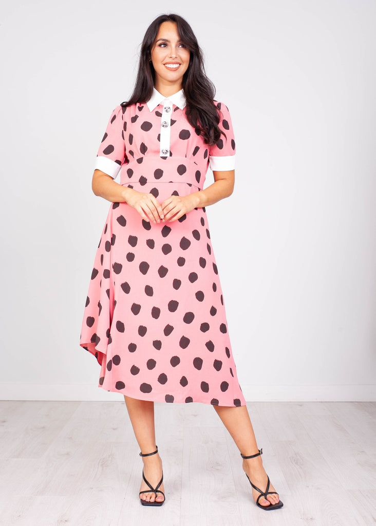 Jasmine Pink & Black Dotted Shirt Dress - The Walk in Wardrobe