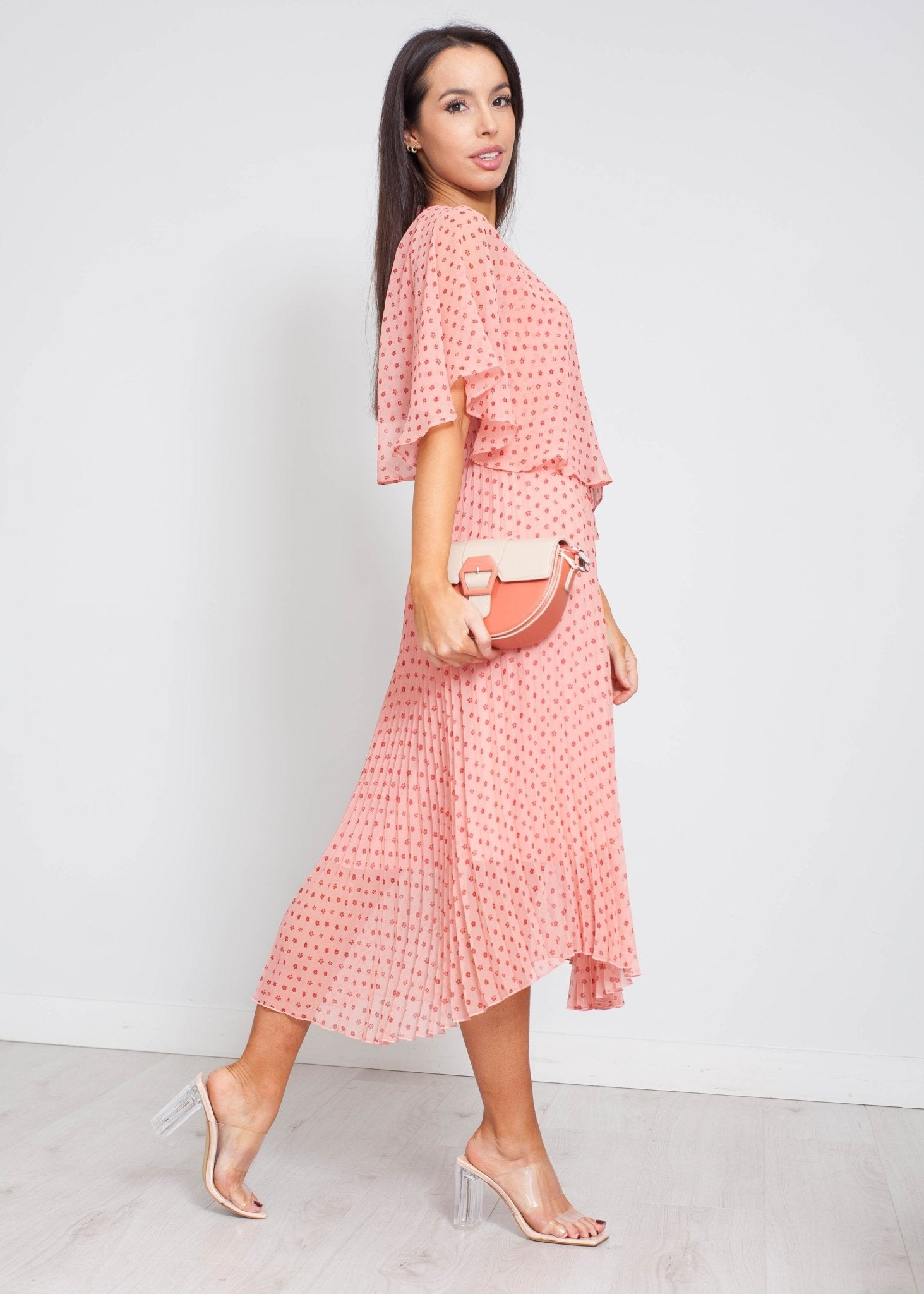Jasmine Pleated Floral Dress In Pink - The Walk in Wardrobe