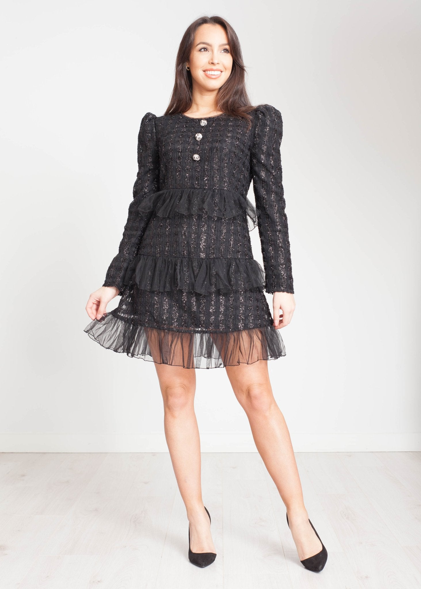 Jasmine Sparkle Mini Dress In Black - The Walk in Wardrobe