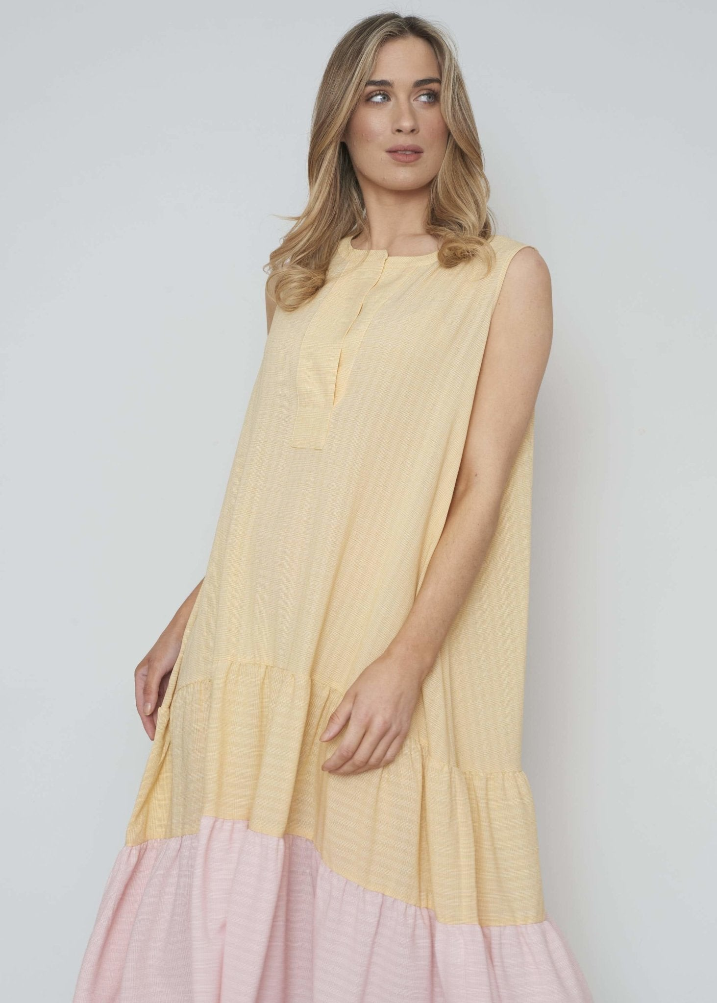 Jasmine Tiered Dress In Lemon And Pink - The Walk in Wardrobe
