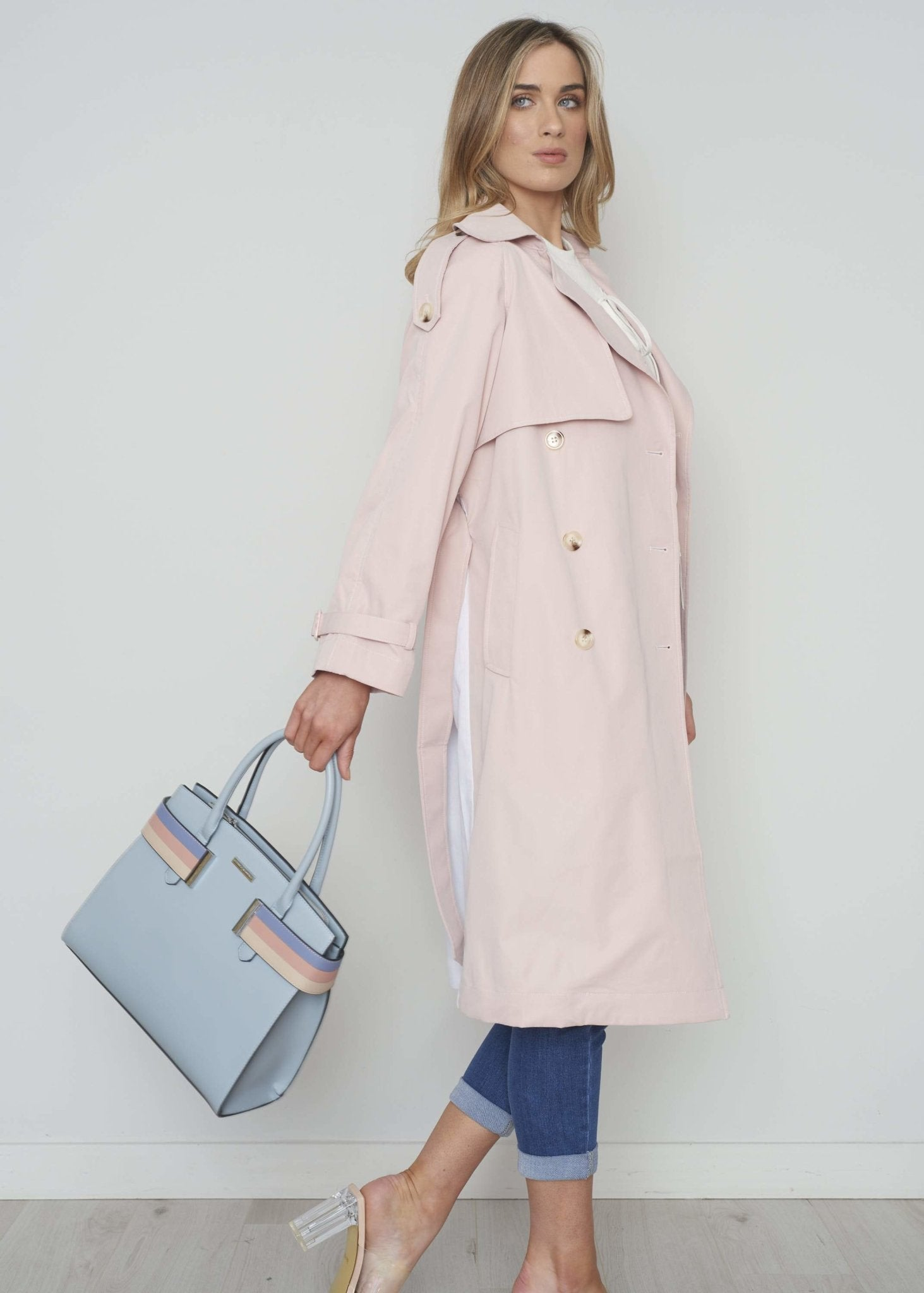 Jasmine Two Tone Trench Coat In Blush - The Walk in Wardrobe