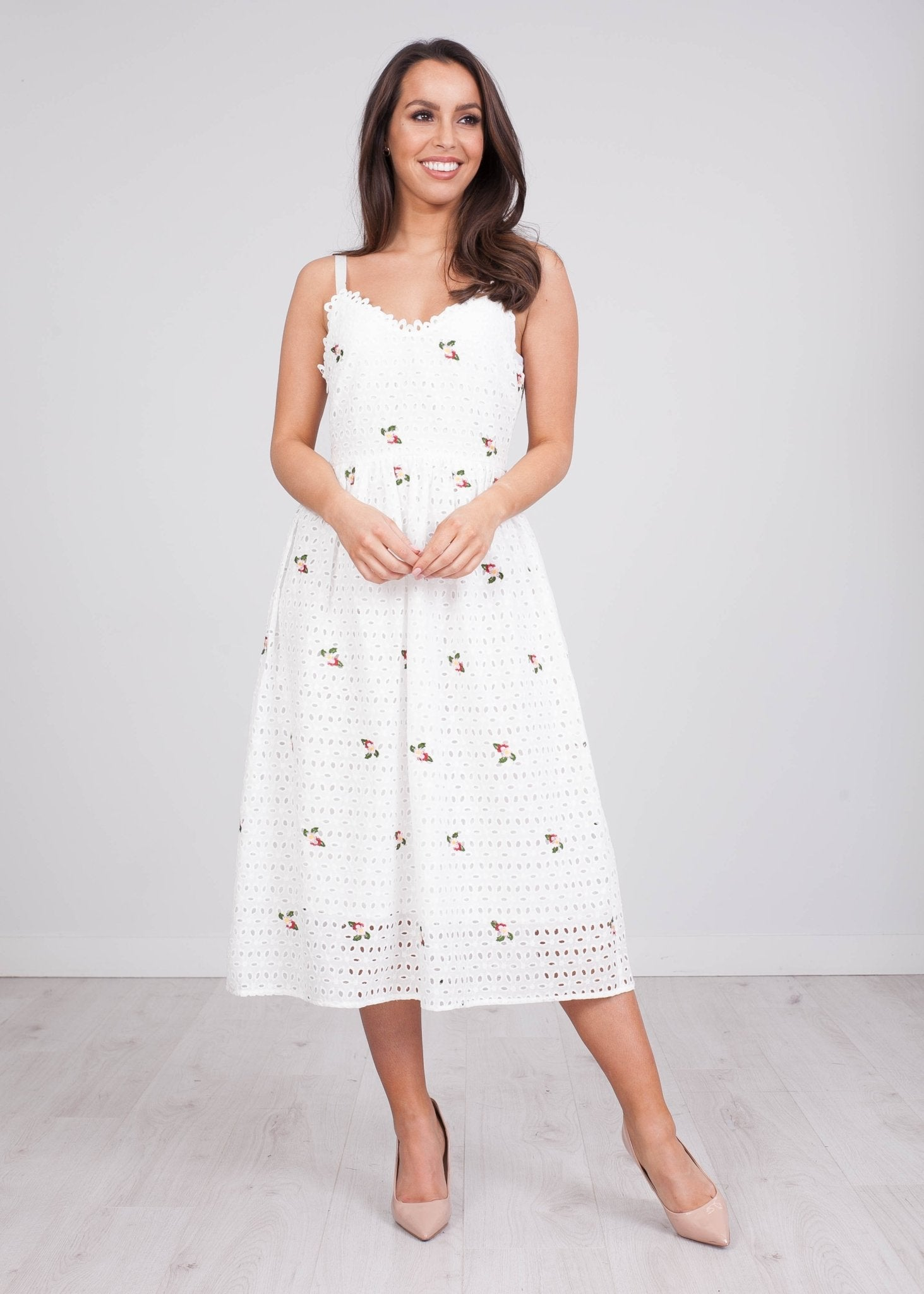 Jasmine White Midi Summer Dress - The Walk in Wardrobe