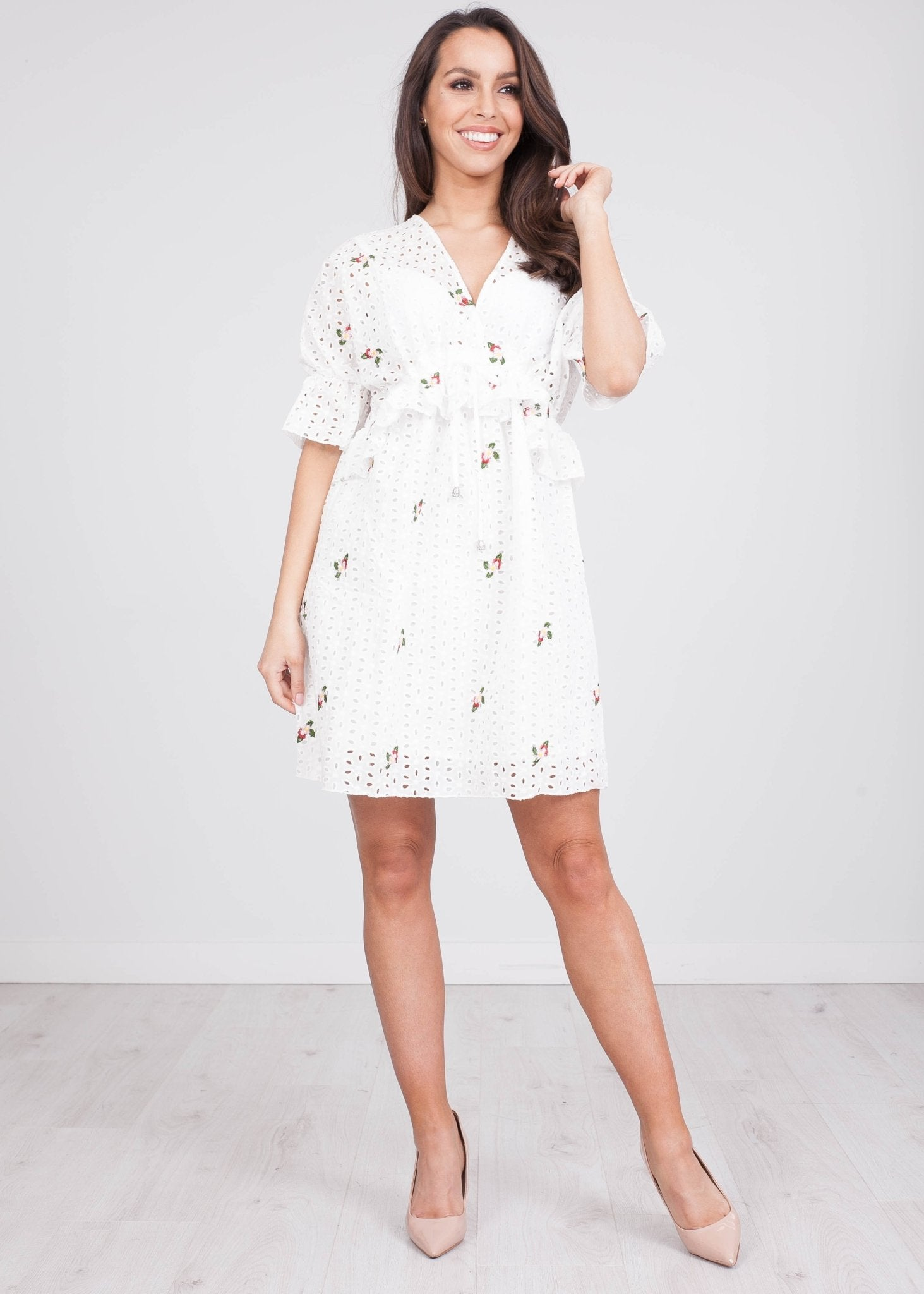 Jasmine White Printed Dress - The Walk in Wardrobe
