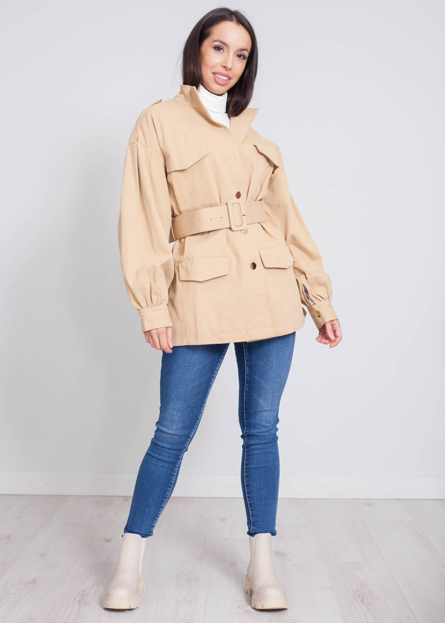 Jayme Belted Utility Jacket In Camel - The Walk in Wardrobe