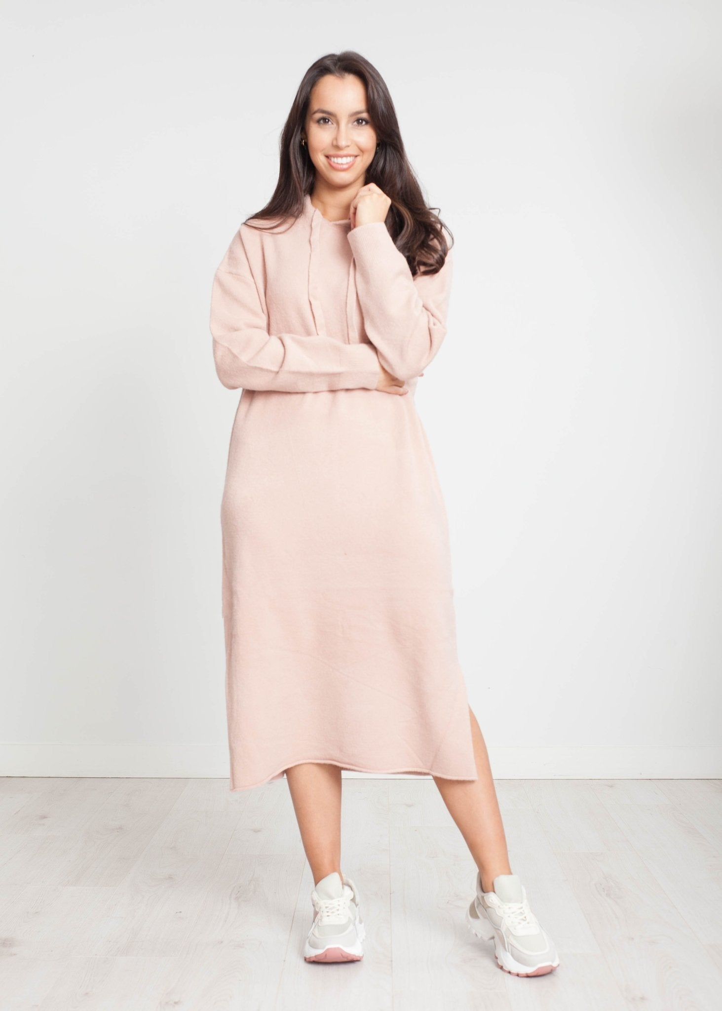 Jayme Knit Hoodie Dress In Blush - The Walk in Wardrobe