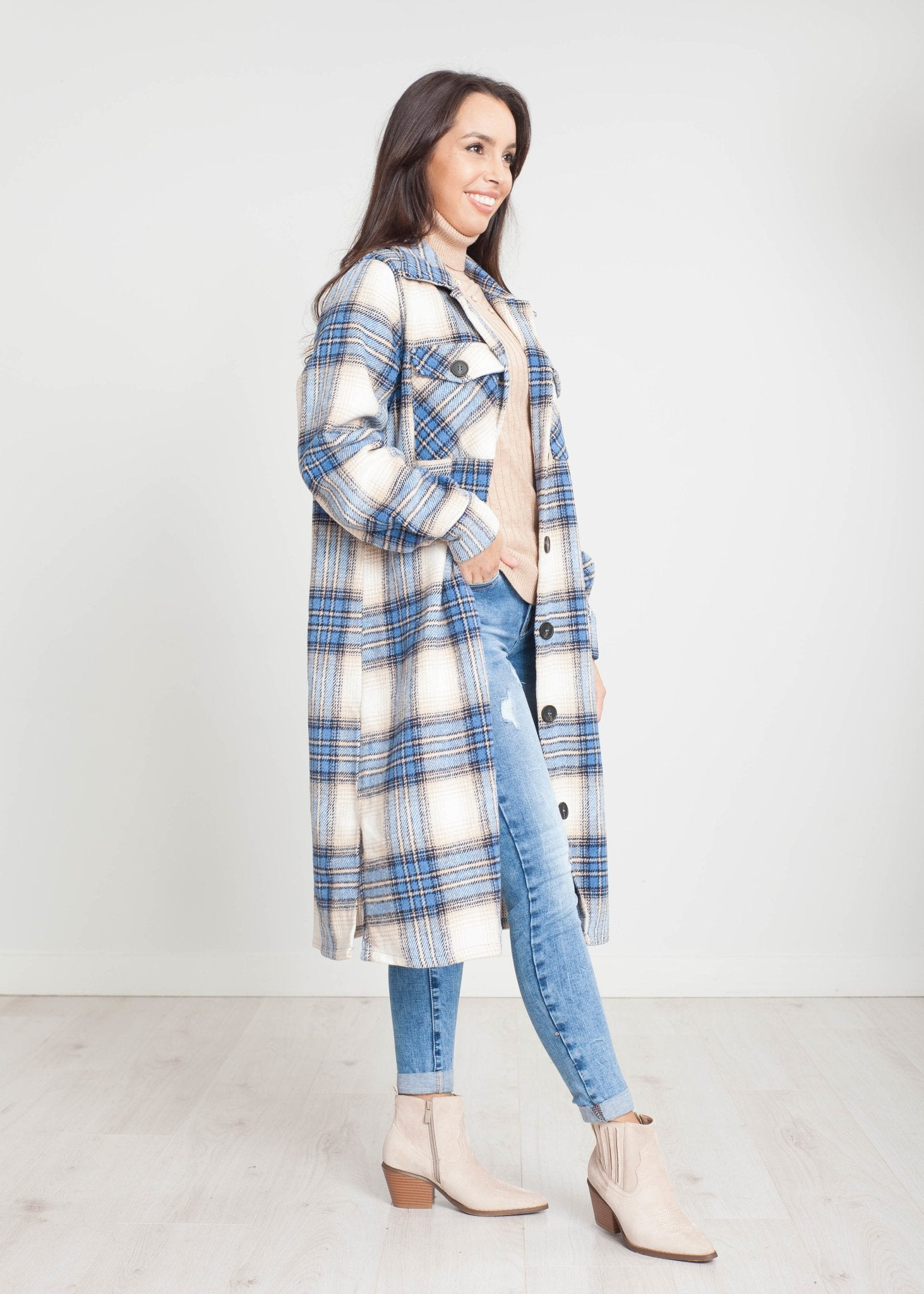 Jayme Longline Check Shacket in Blue - The Walk in Wardrobe