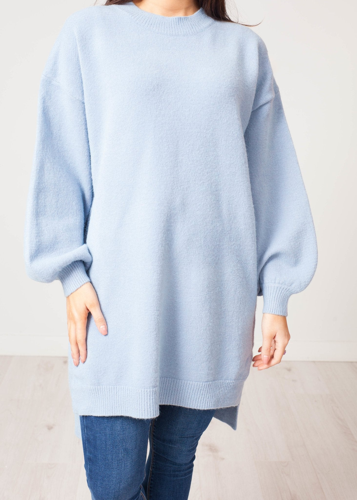 Jayme Longline Jumper In Powder Blue - The Walk in Wardrobe