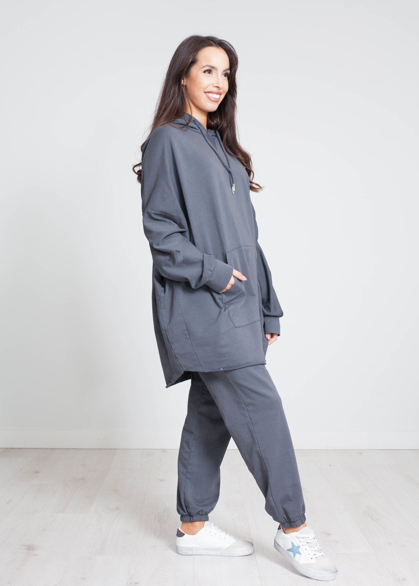 Jayme Oversized Lounge Set In Charcoal - The Walk in Wardrobe