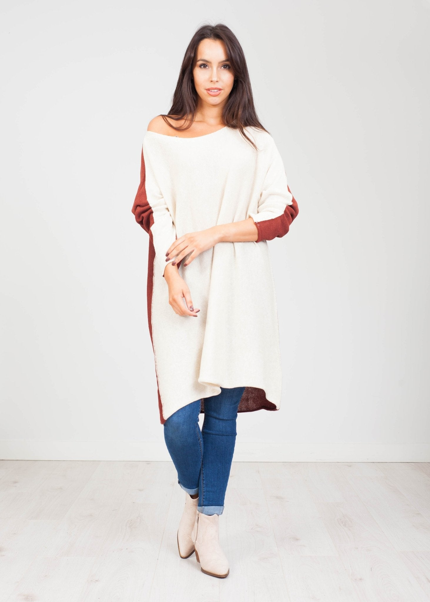 Jayme Oversized Tunic in Two Tone - The Walk in Wardrobe