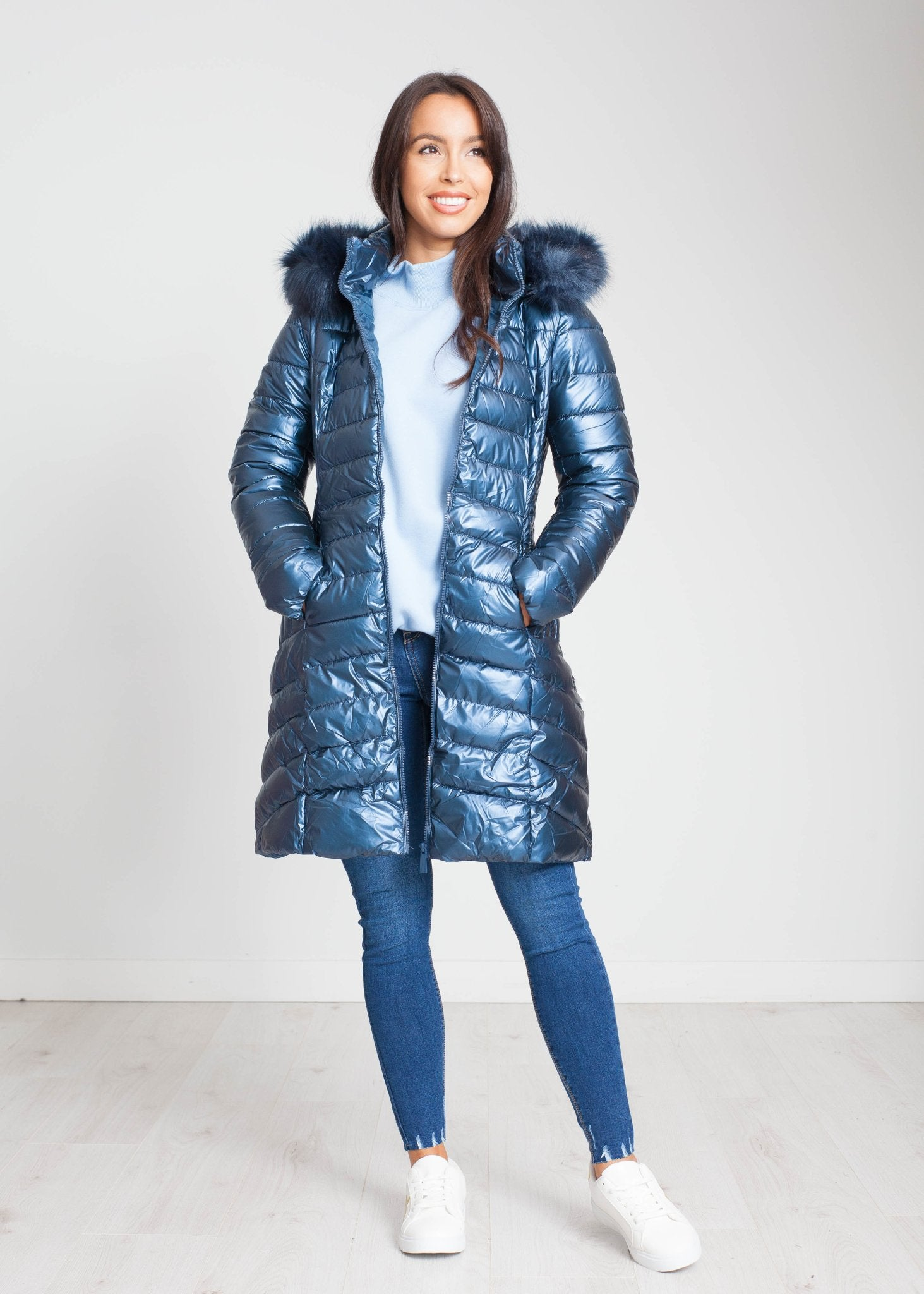 Jayme Quilted Coat In Ice Blue - The Walk in Wardrobe